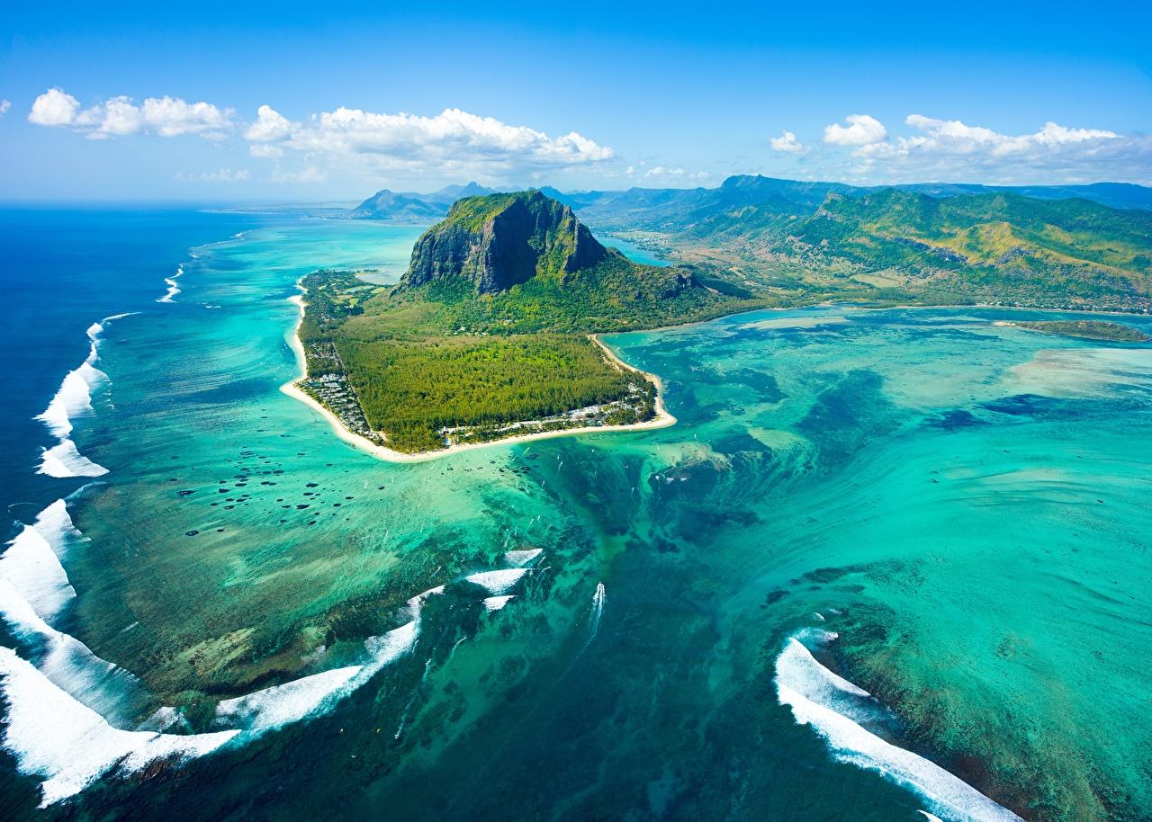 Foto Mauritius Berg Natur Ozean Insel Himmel Von oben Gebirge