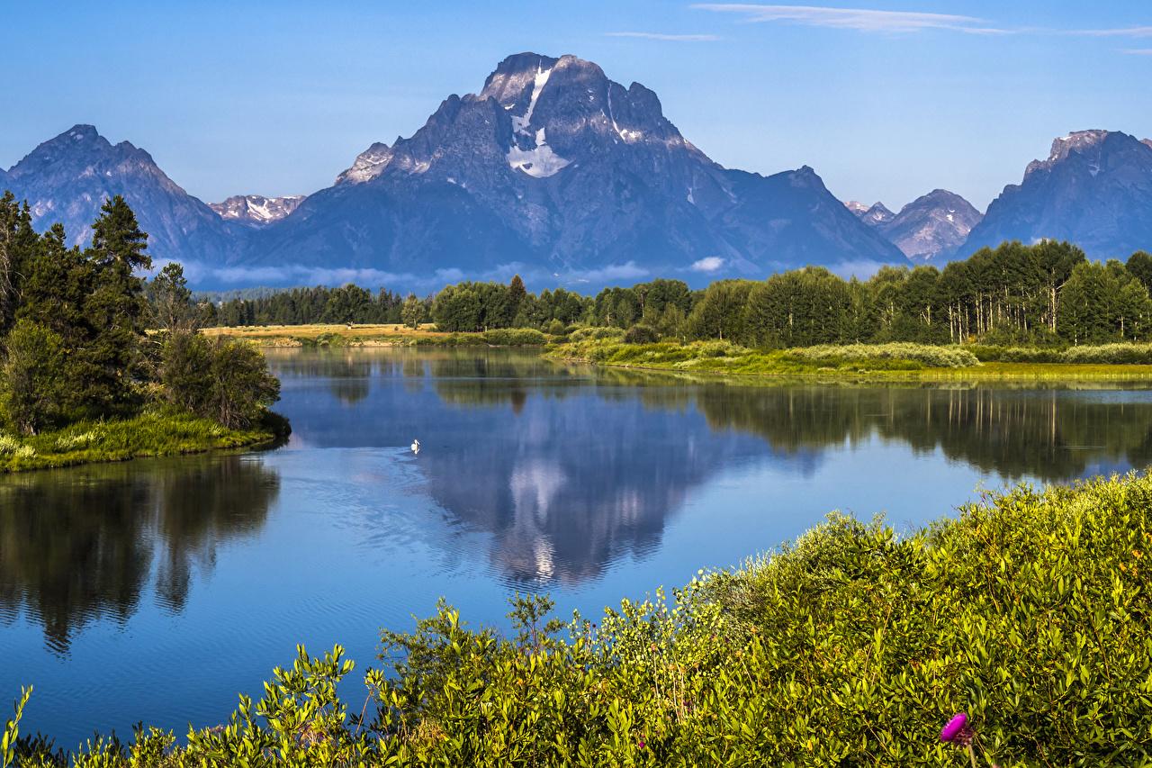 Bilder von Vereinigte Staaten Grand Teton NP Natur Gebirge Park Wälder Flusse USA