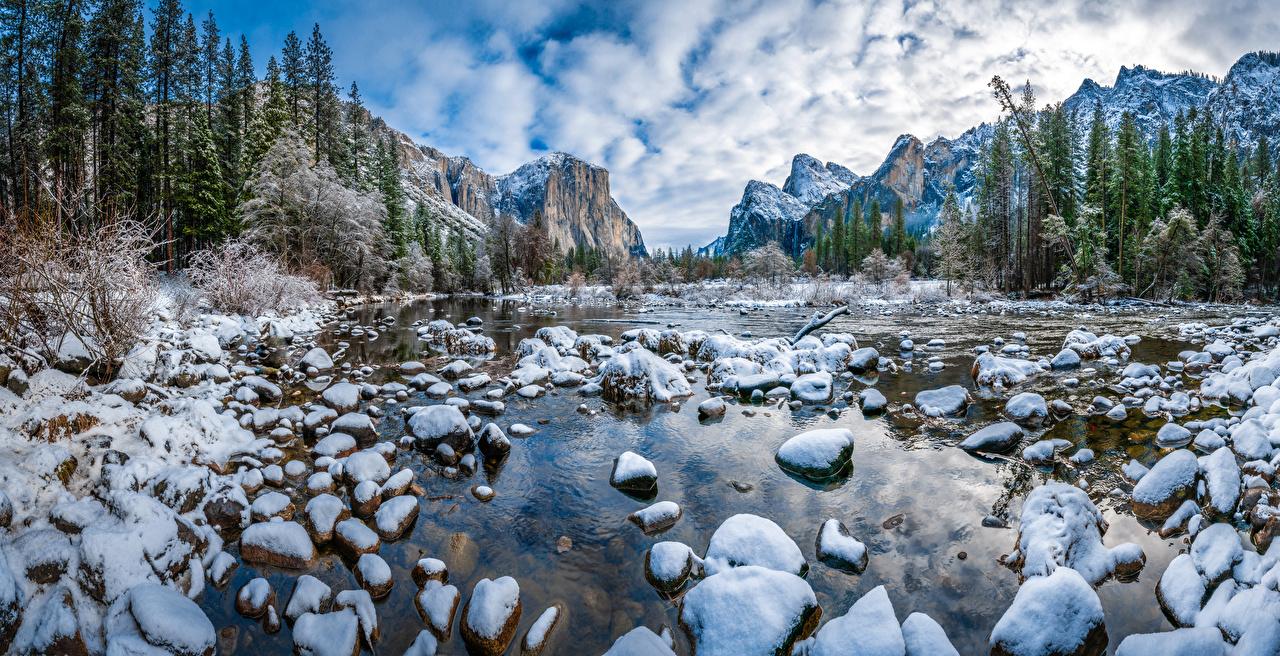 Bilder Yosemite Vereinigte Staaten Natur Winter Gebirge Park Schnee Landschaftsfotografie Steine USA