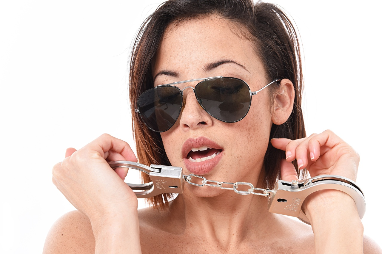 Image Handcuffs iStripper Glasses Hands Brown haired White background Clara Rene eyeglasses