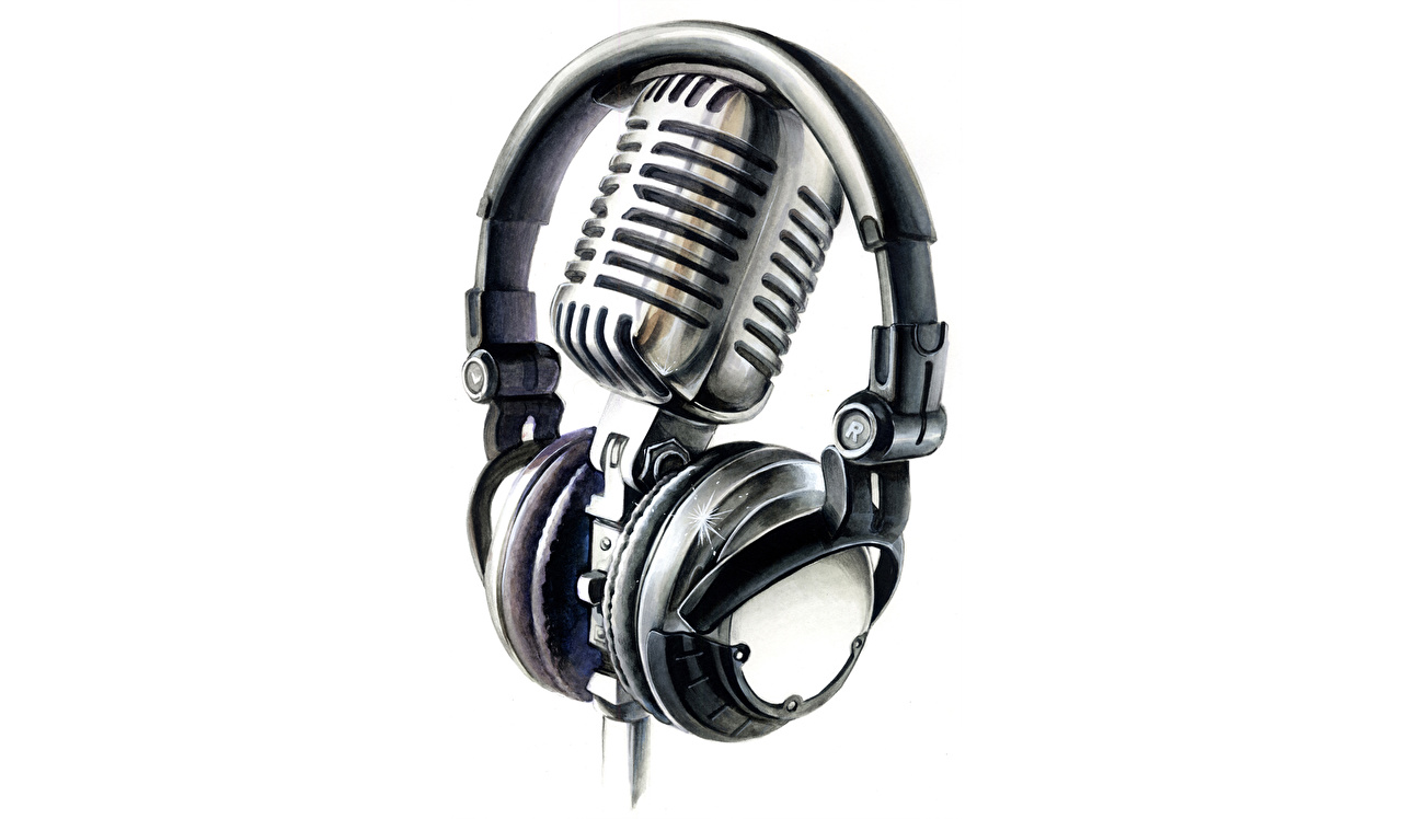 Pictures Headphones mic Music Closeup White background Microphone
