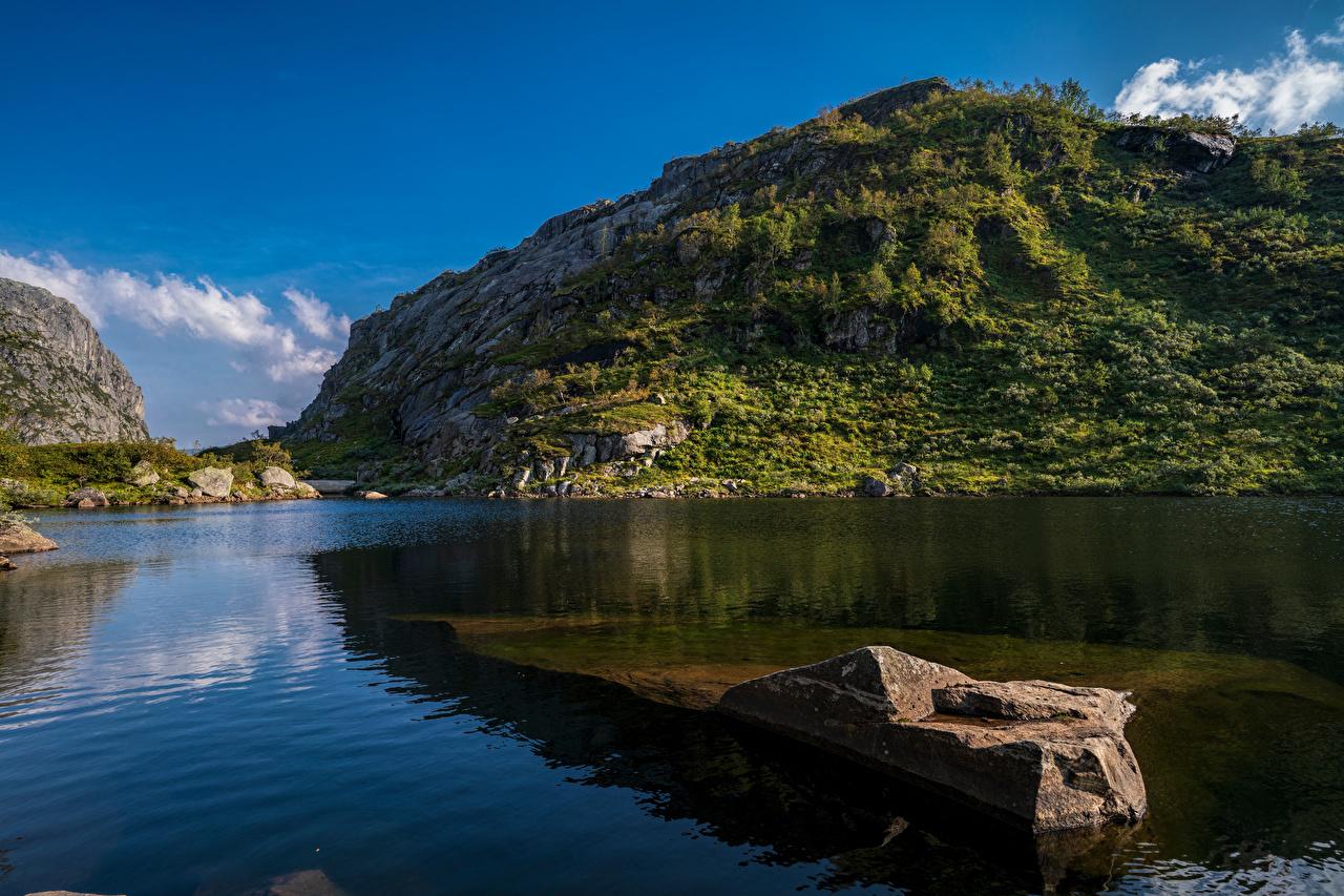 Images Nature Norway Hardangerfjord Rock Fjord mountain Stones Crag Cliff Mountains stone