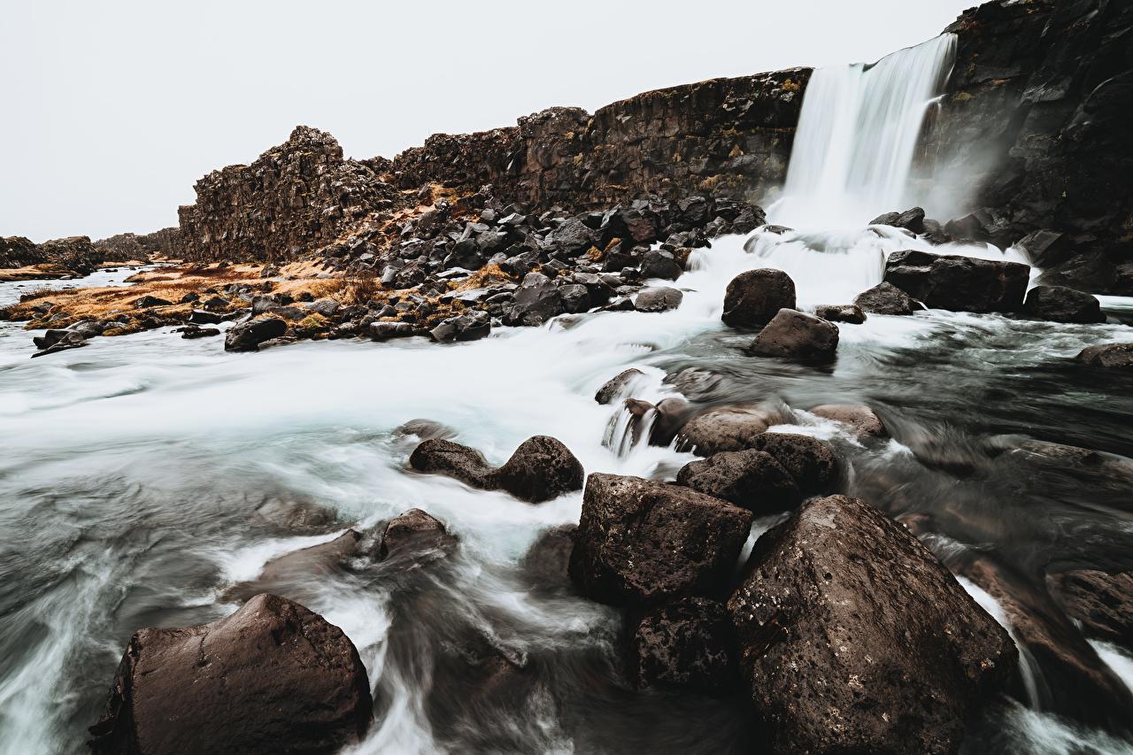 Desktop Wallpapers Iceland Nature Waterfalls Stones stone