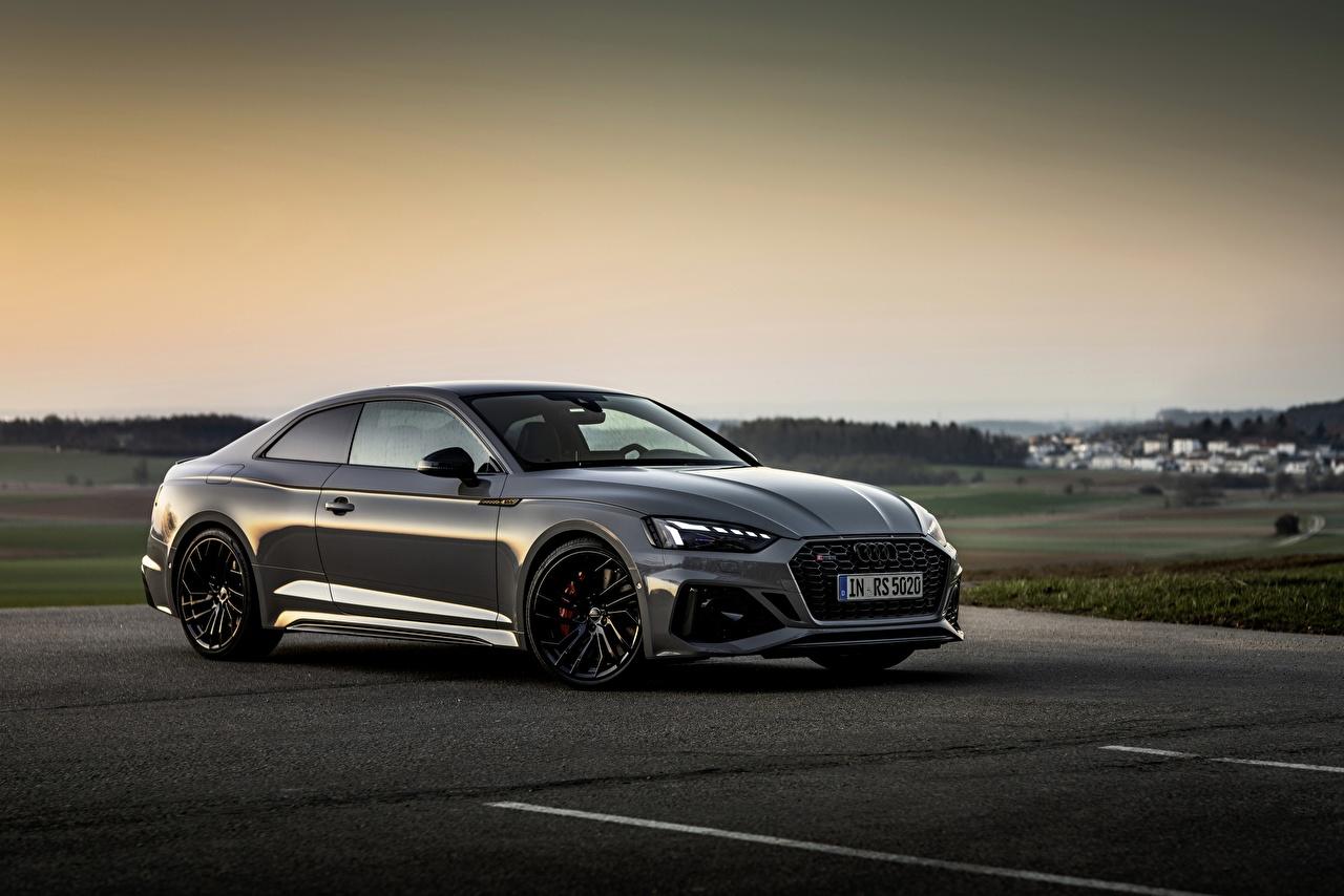 Fotos Audi RS5 Coupe, 2020 Coupe Grau Abend Autos Metallisch graue graues auto automobil