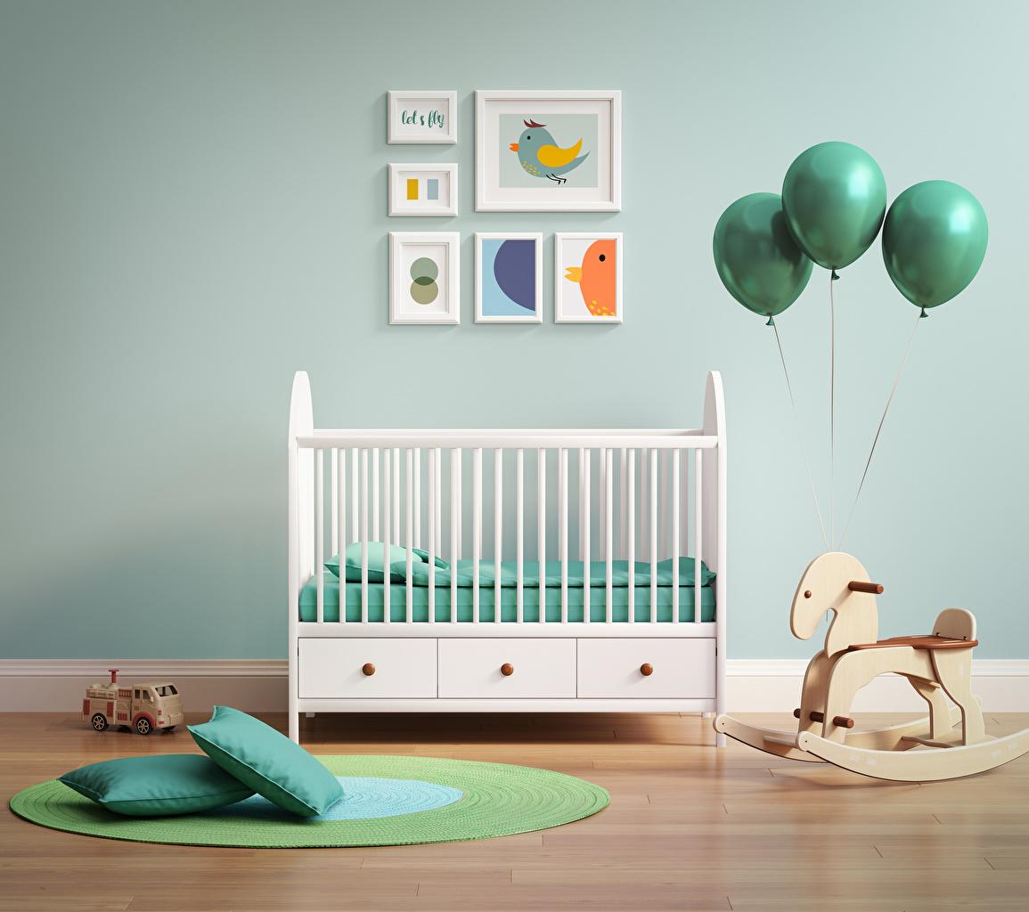 Image Children's room Interior Bed Balls toy Pillows Design Toys