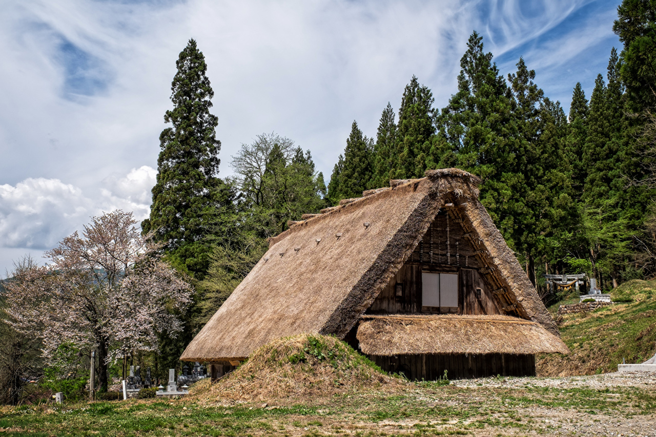 Fotos von Japan Dorf Shirakawa Haus Städte Gebäude