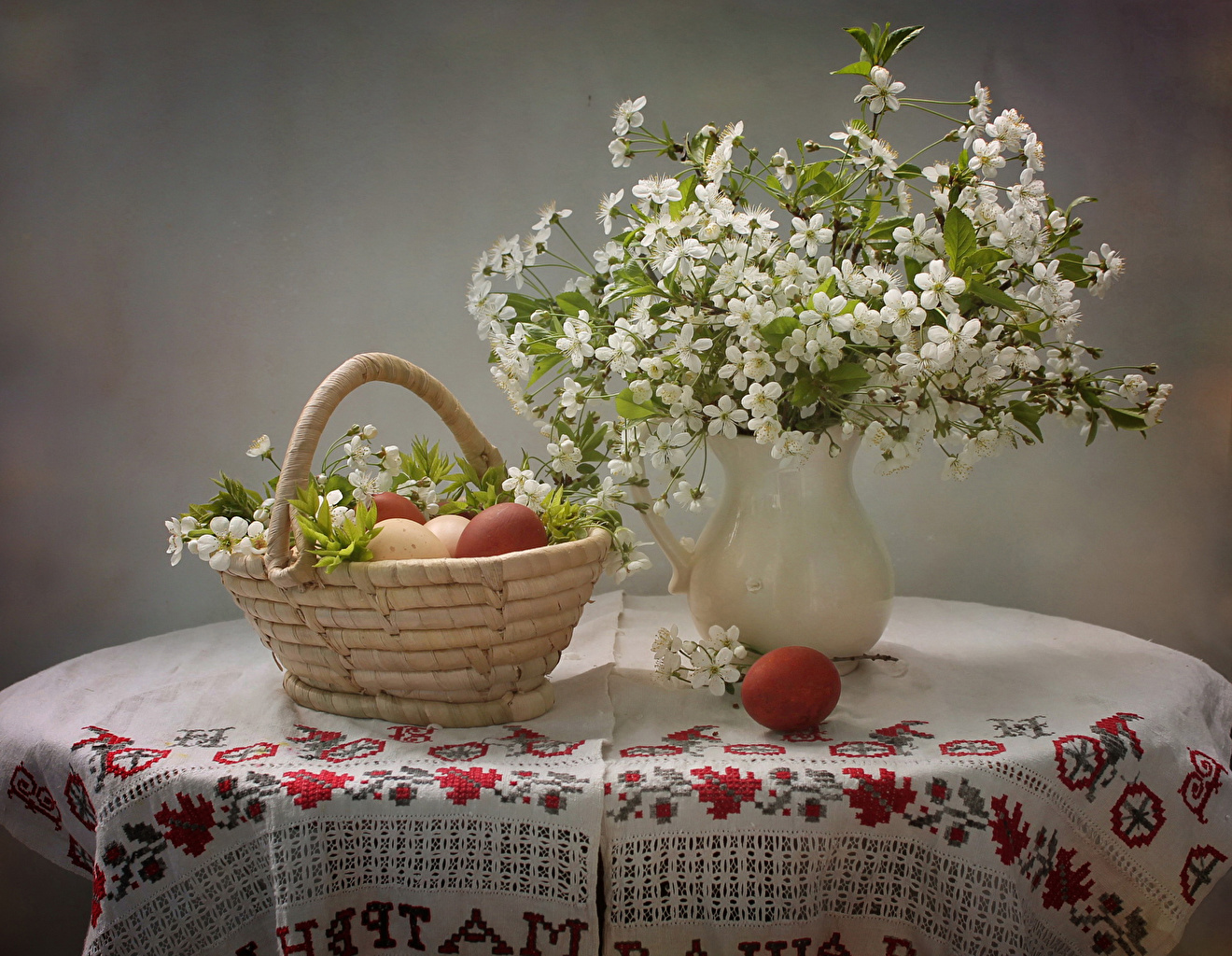 Pictures egg flower Wicker basket Vase Table Branches Still-life Flowering trees Eggs Flowers