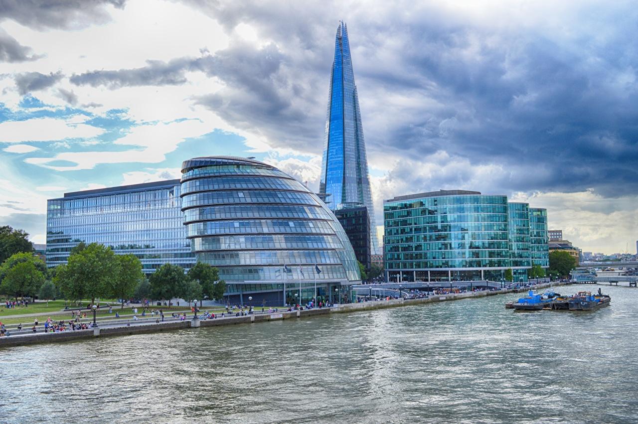 壁紙 イングランド 超高層建築物 川 Thames The Shard ロンドン