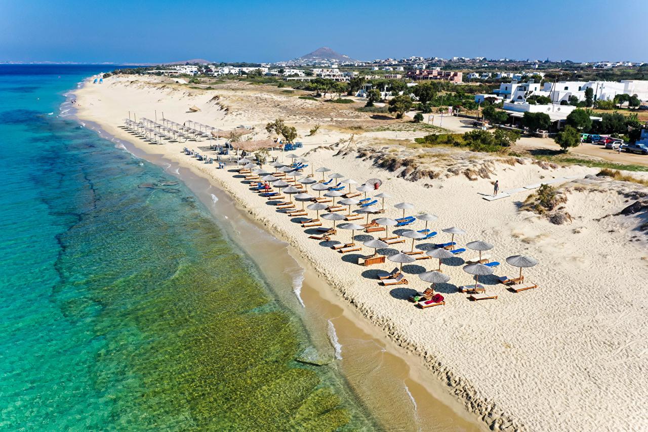 Fotos Griechenland Naxos City Strand Meer Natur Sand Küste Gebäude Strände Haus