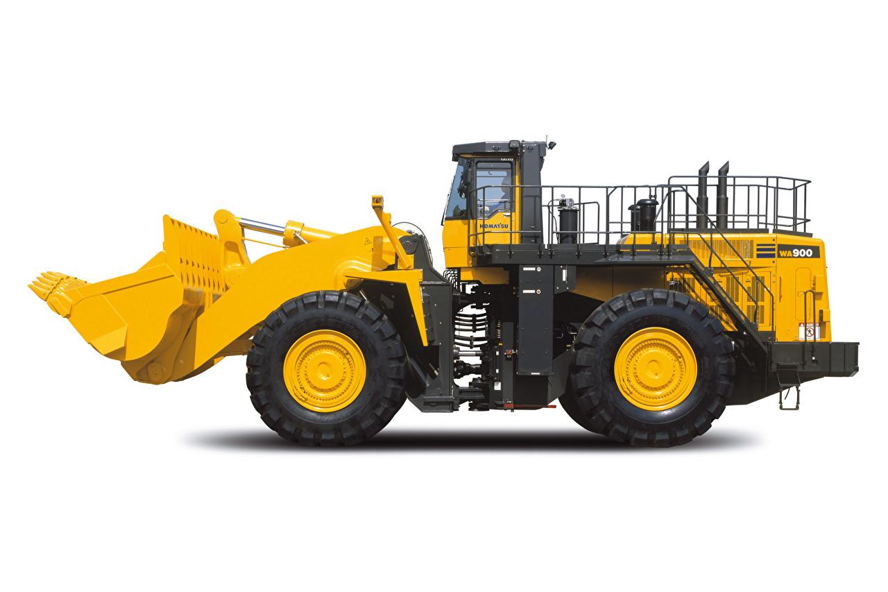 Komatsu WA900-8, 2019 Pá carregadeira Amarelo Lateralmente Fundo branco Pás-carregadeiras