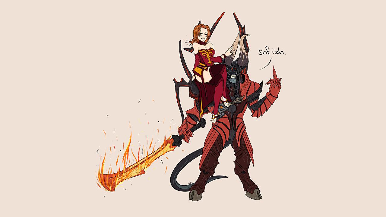 Picture DOTA 2 Lina Doom Dota 2 demon Warriors Fantasy vdeo game Demons warrior Games