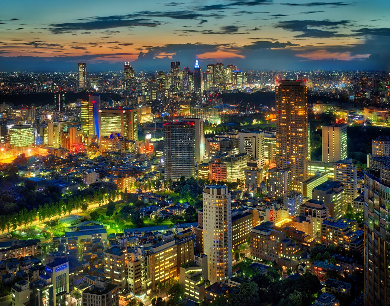、日本、東京都、住宅、超高層建築物、メガロポリス、夜、建物、都市