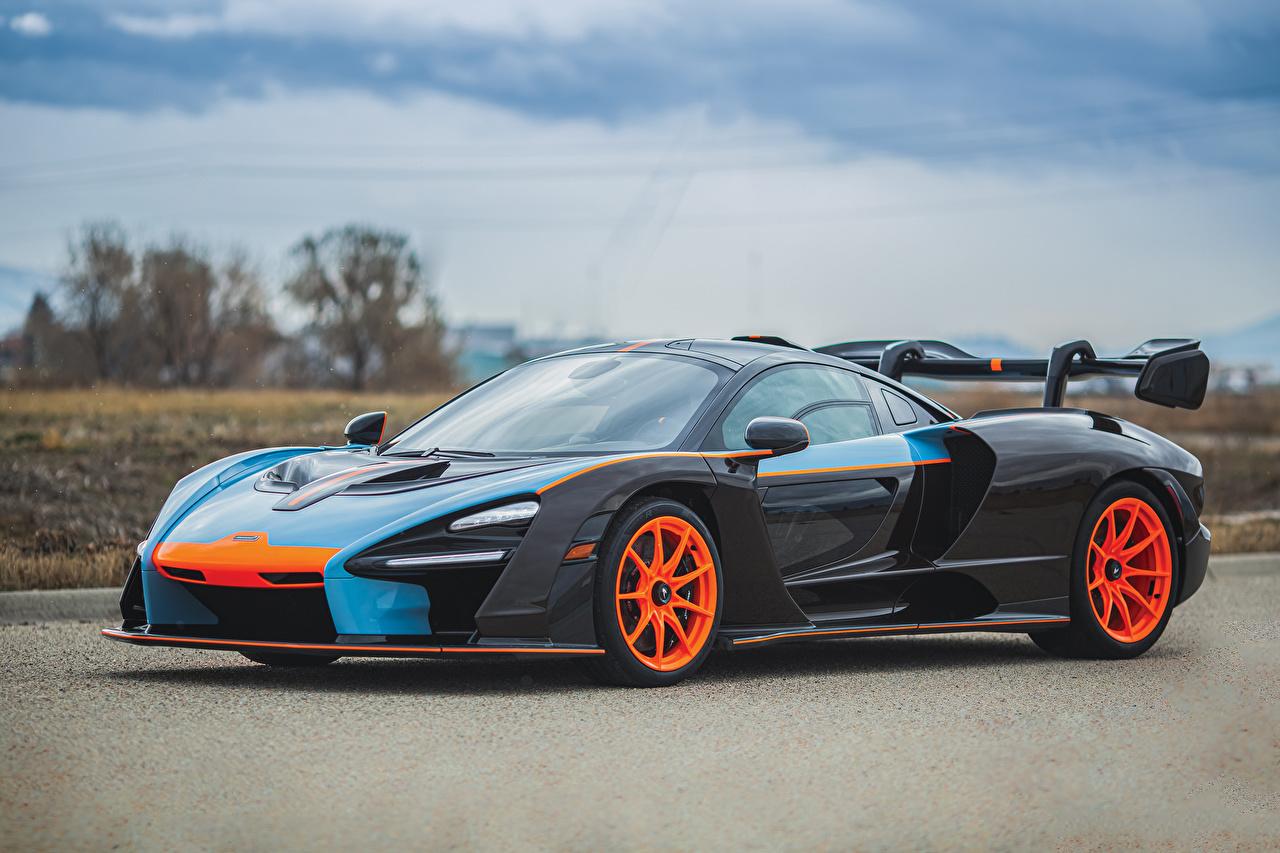 Photos McLaren 2019 MSO Senna Gulf Oil Theme Black auto Metallic Cars automobile