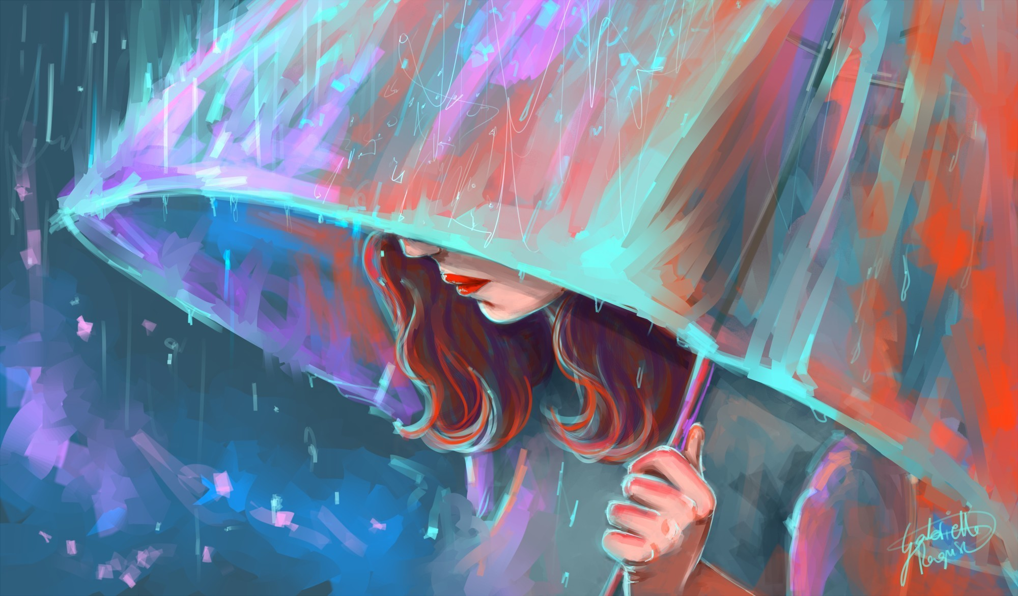 young woman Rain parasol Painting Art