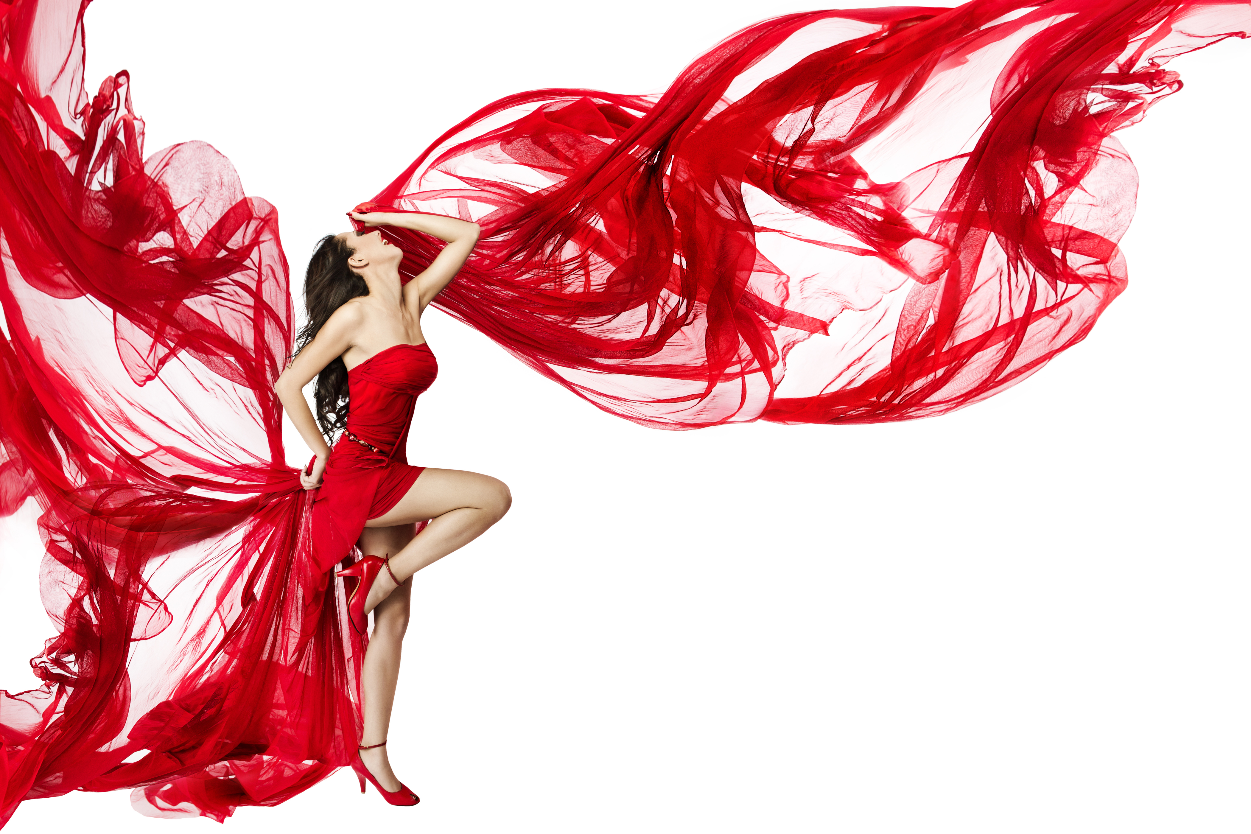 Hintergrundbilder Braune Haare Tanzen Mädchens Bein Weißer hintergrund Kleid 4200x2800 Braunhaarige Tanz