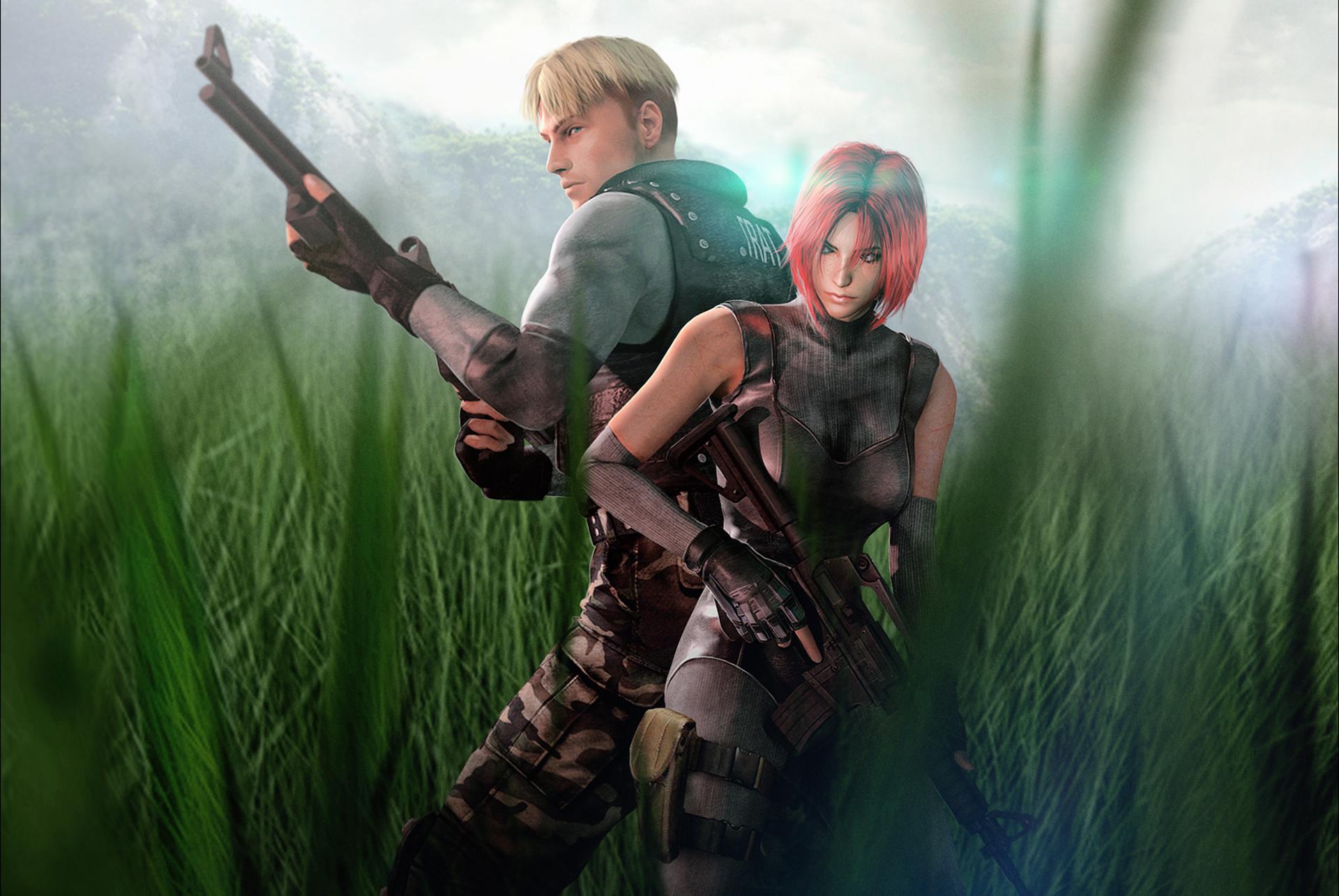 Hintergrundbilder Dino Crisis Soldaten Mann S.O.R.T. agent T.R.A.T. Soldier Dylan Morton Regina fan art Capcom Mädchens Spiele Gras 1920x1285