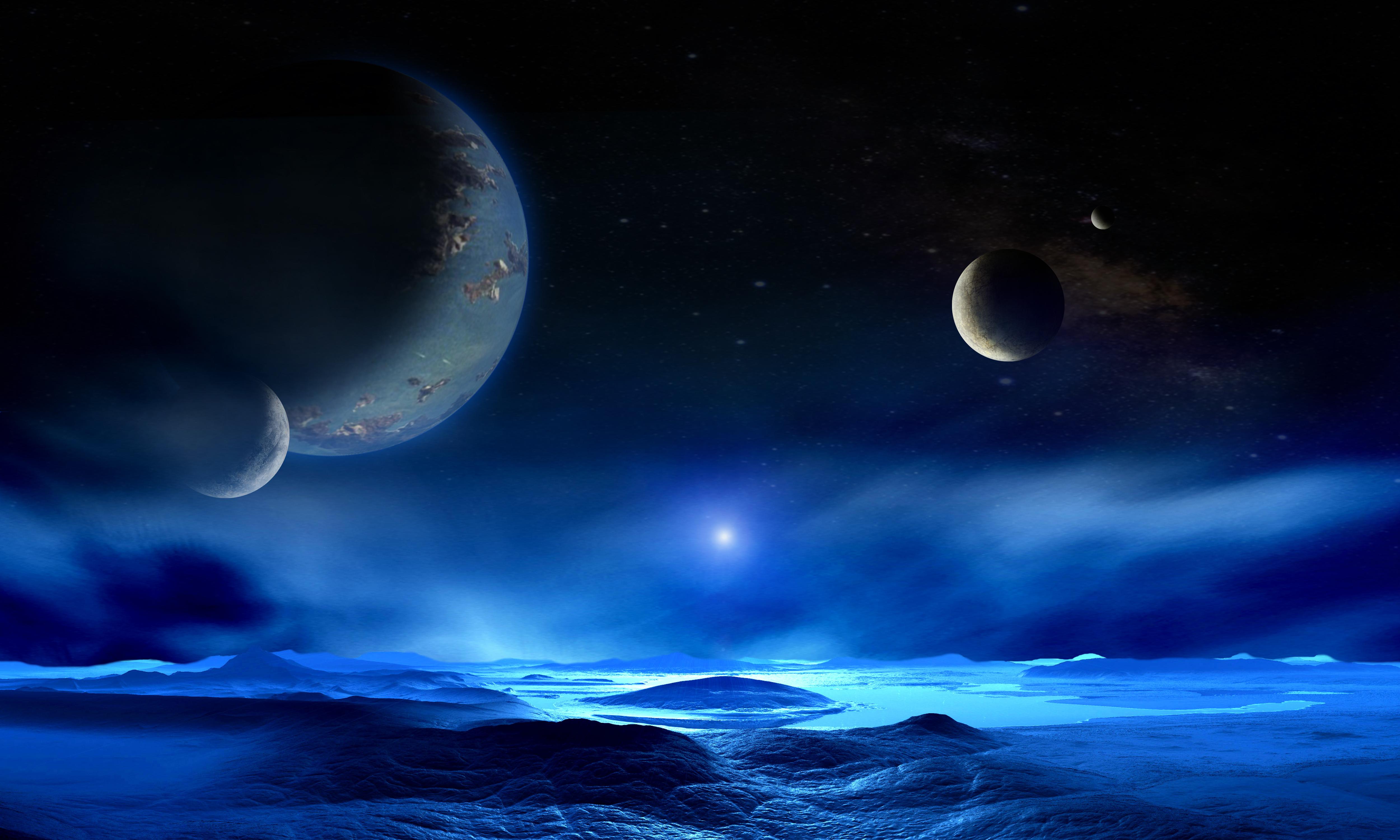 Fonds d'ecran La surface de la planète Étoile Planètes Сosmos 3D Graphiques télécharger photo