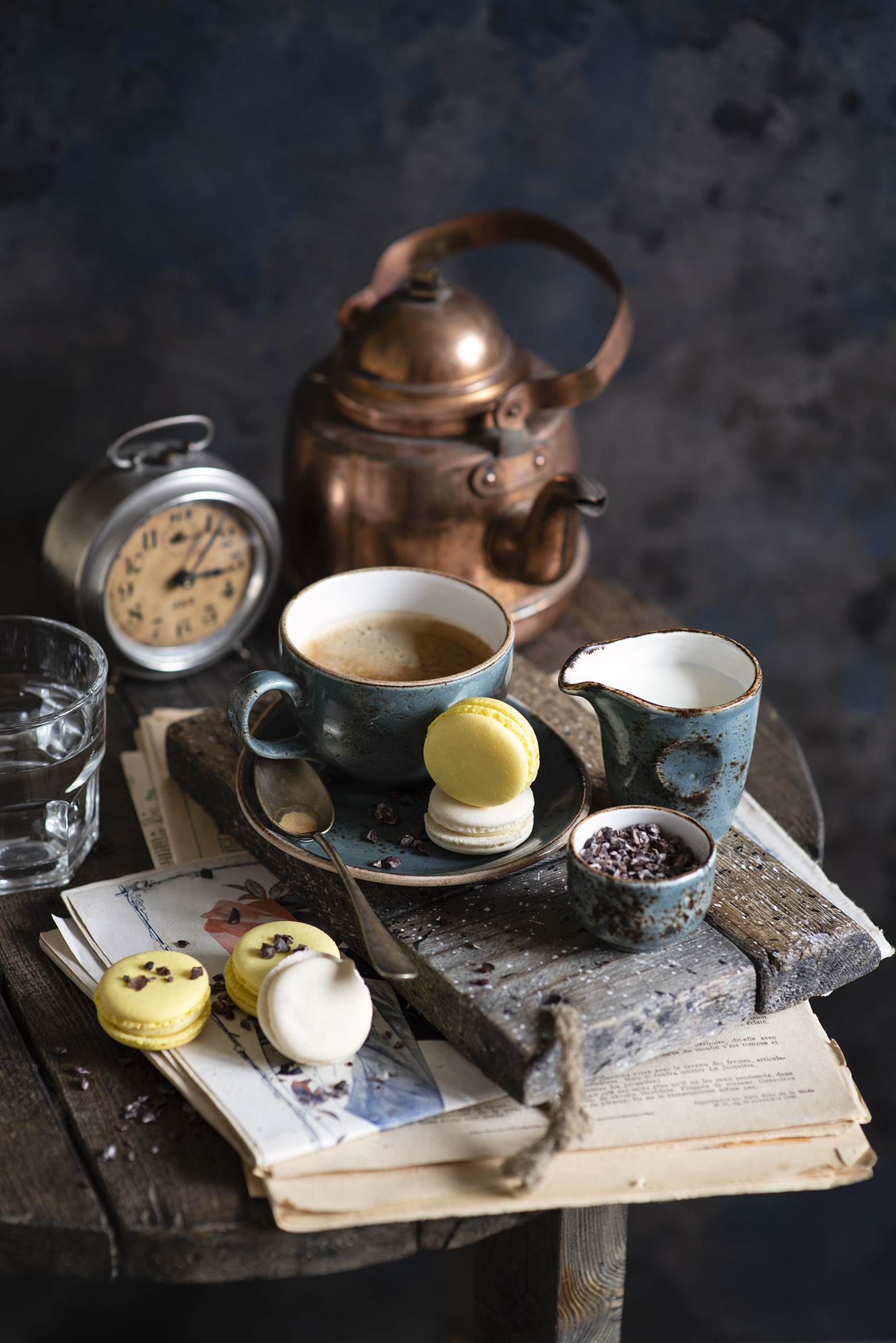 Photo Milk Macaron Clock Coffee Cappuccino Kettle Cup Food Still-life  for Mobile phone french macarons