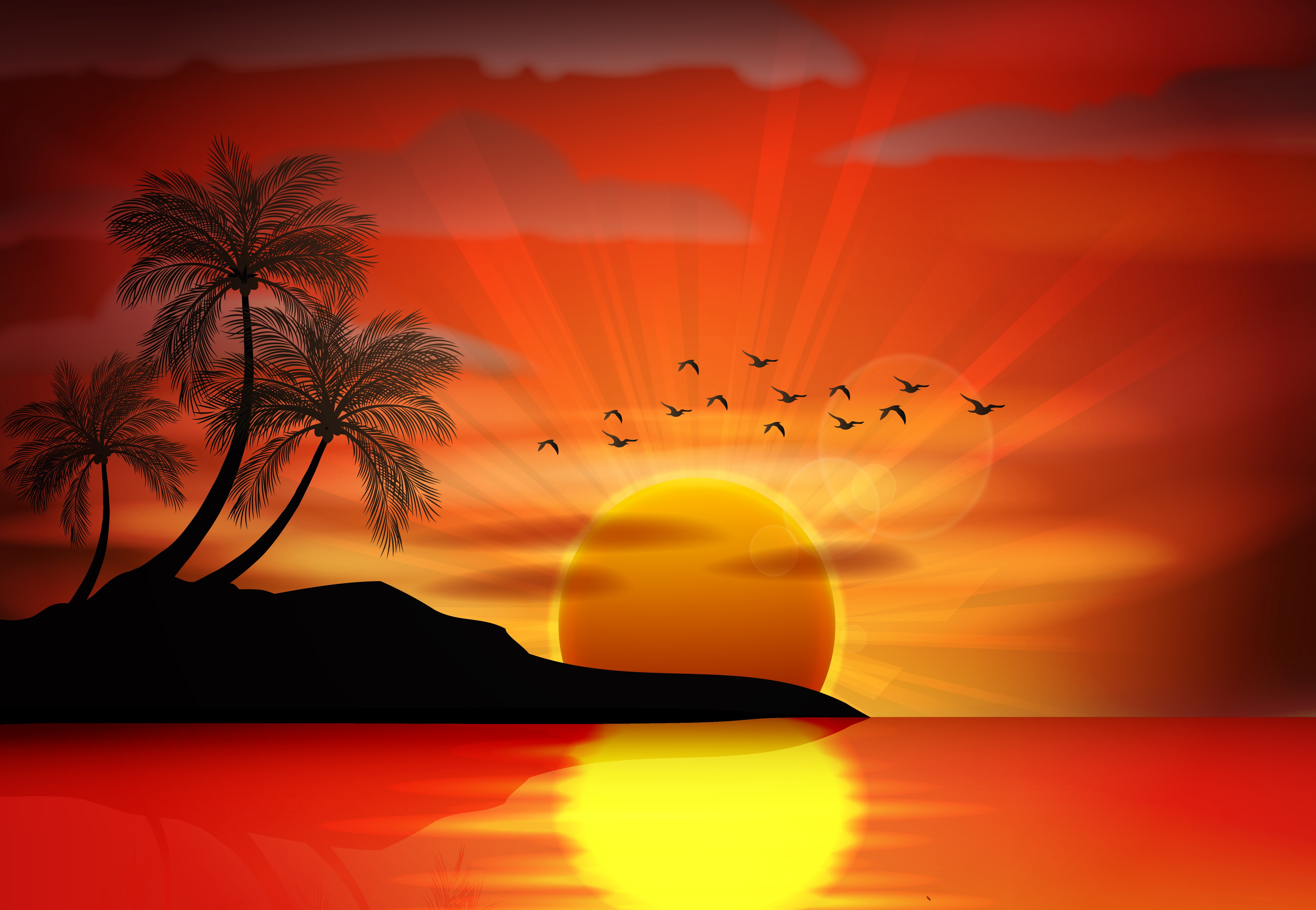 Pictures Silhouette Sea Sun Nature Palm Trees Vector 5565x3850