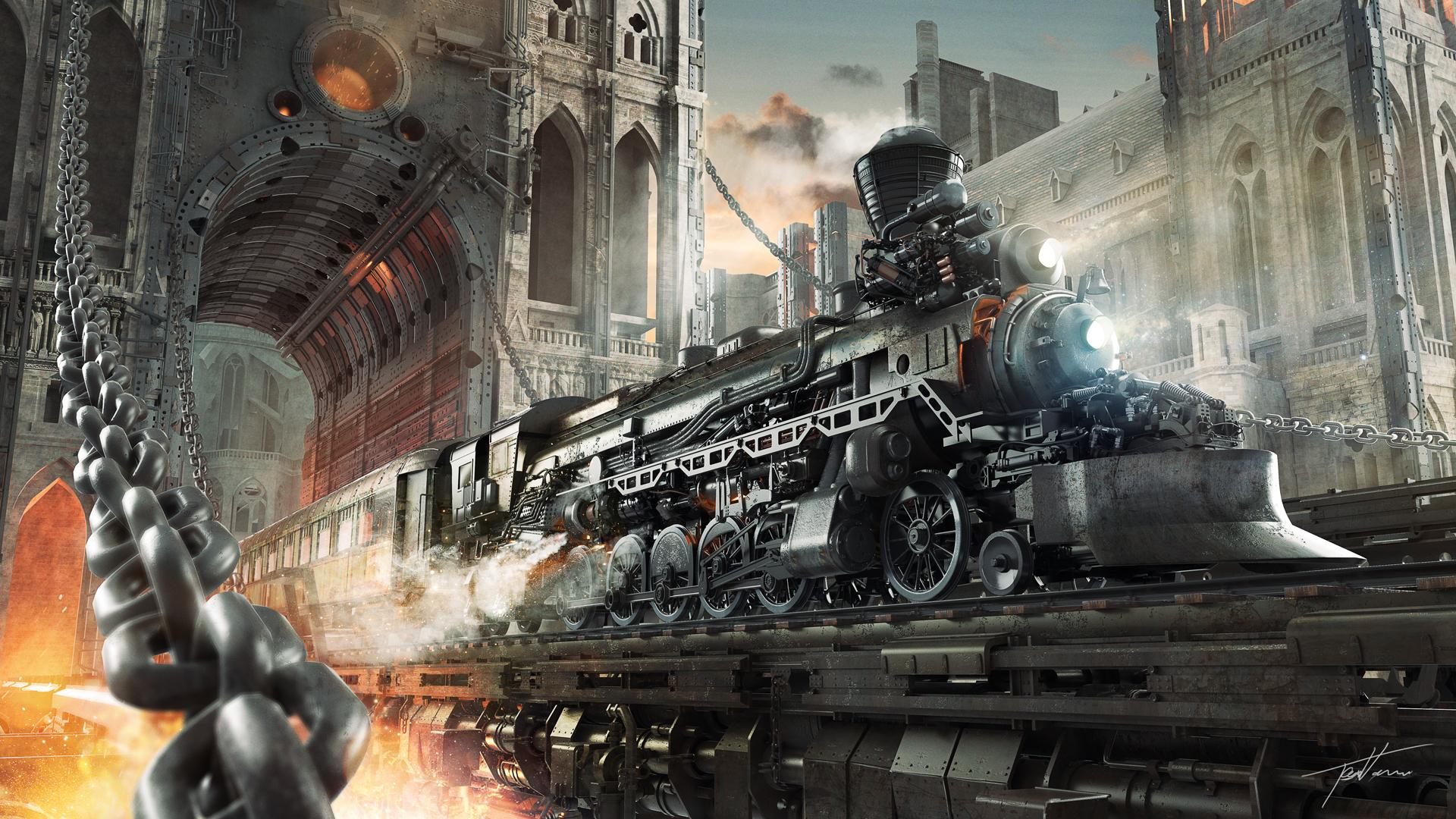 壁紙 19x1080 スチームパンク 列車 幻想的な世界 テクニクスファンタジー 機関車 鎖 ファンタジー ダウンロード 写真