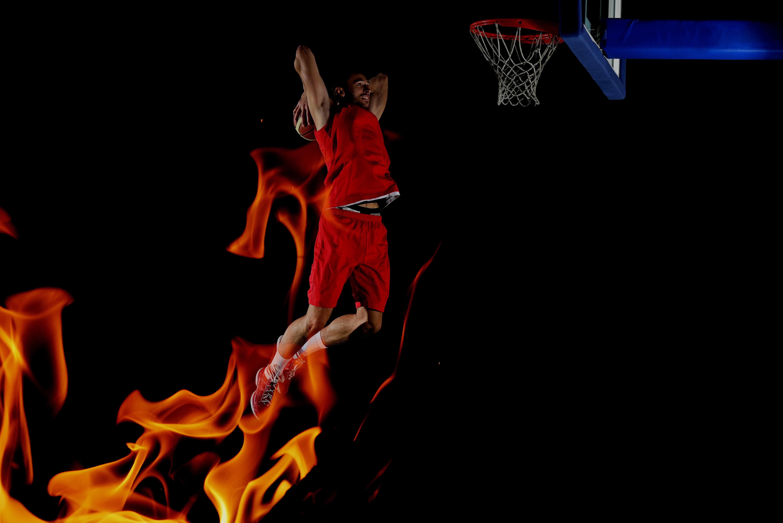 Images Man Sport Basketball Jump Flame Black Background 6000x4004