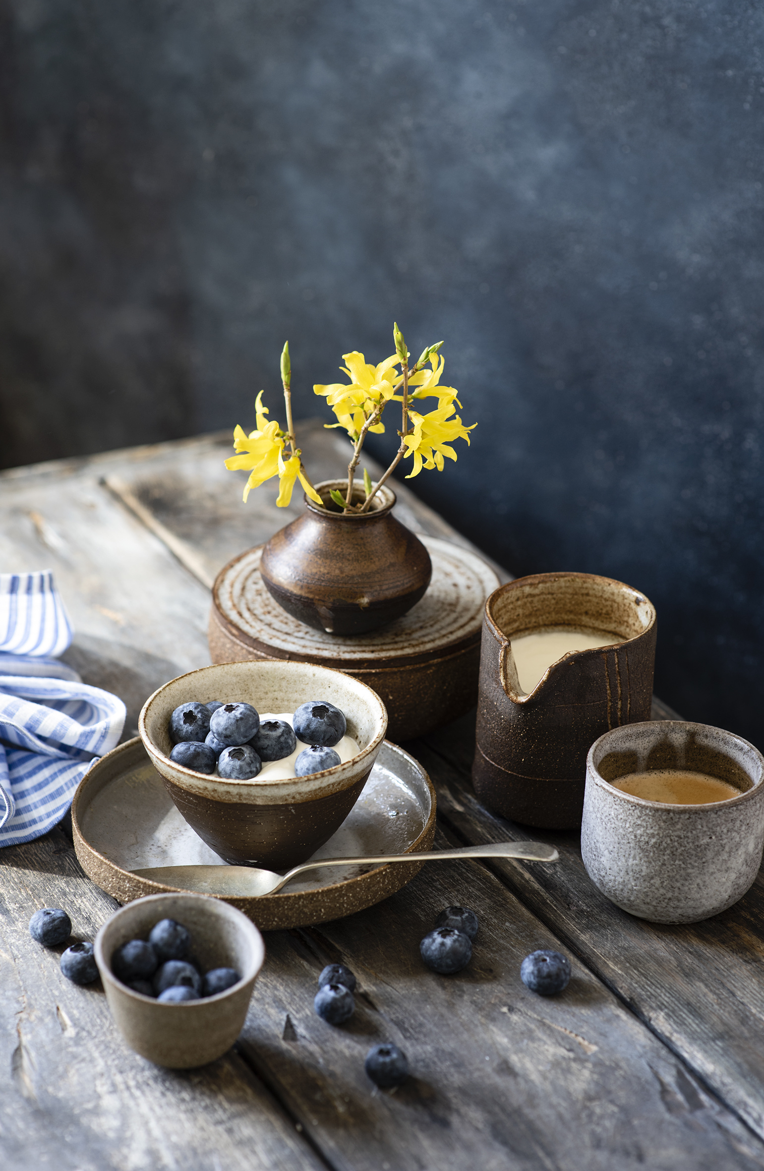 Desktop Wallpapers Coffee Cappuccino Blueberries Mug Vase Food Branches Wood planks  for Mobile phone boards