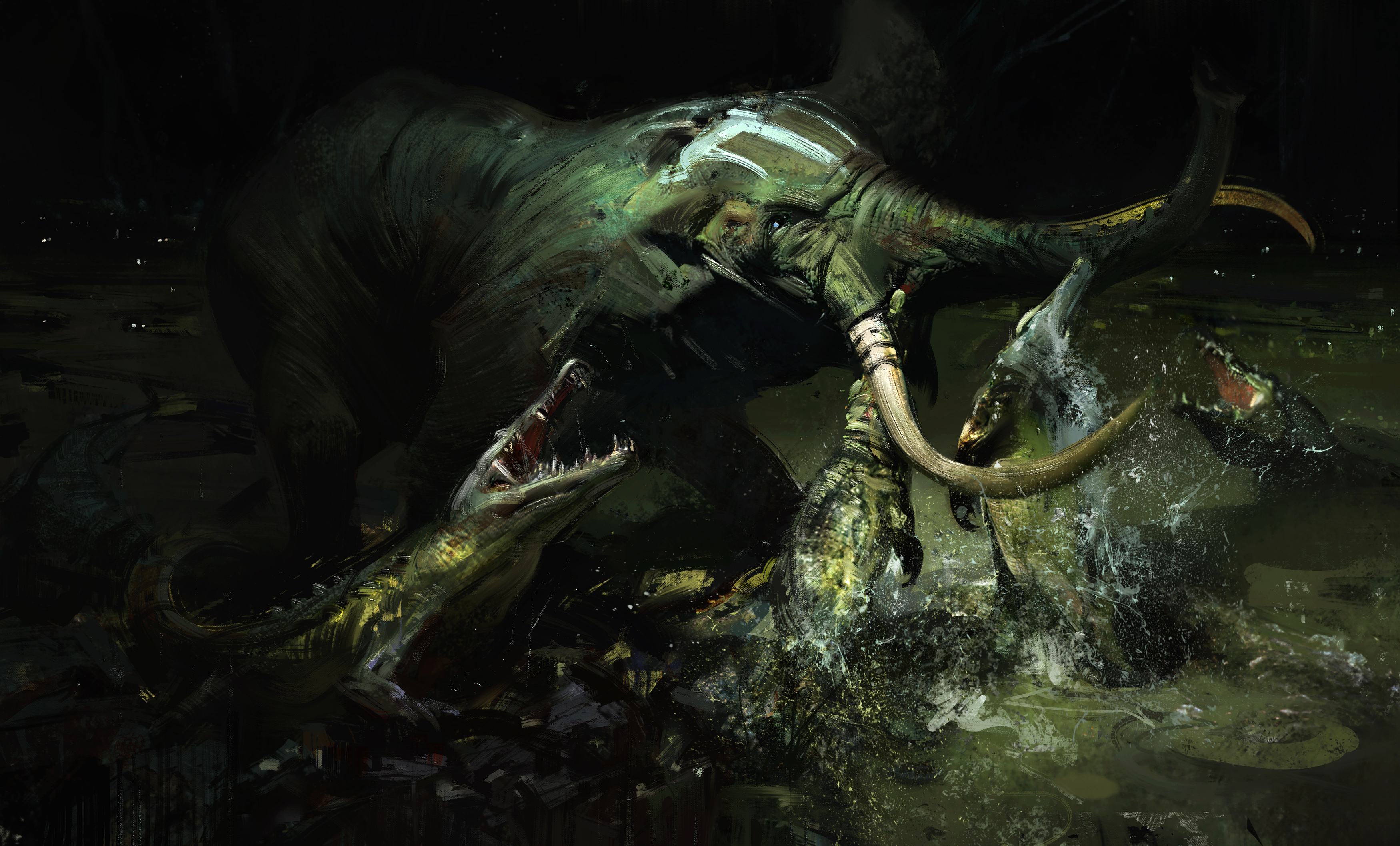 Images elephant Crocodiles Fight animal Painting Art 3500x2117