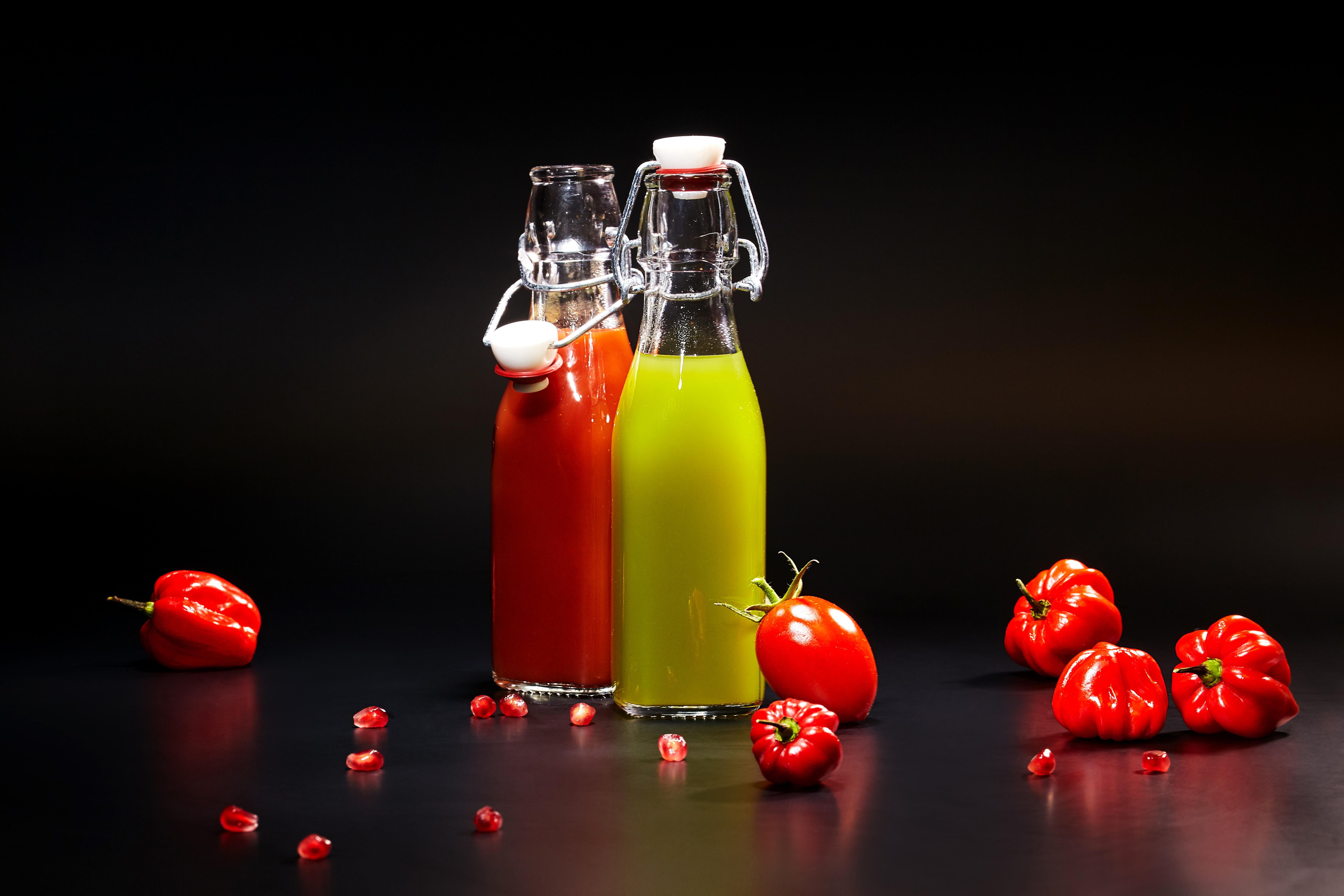 Image 2 Juice Tomatoes Food Bottle Bell pepper Colored background 5616x3744 Two bottles