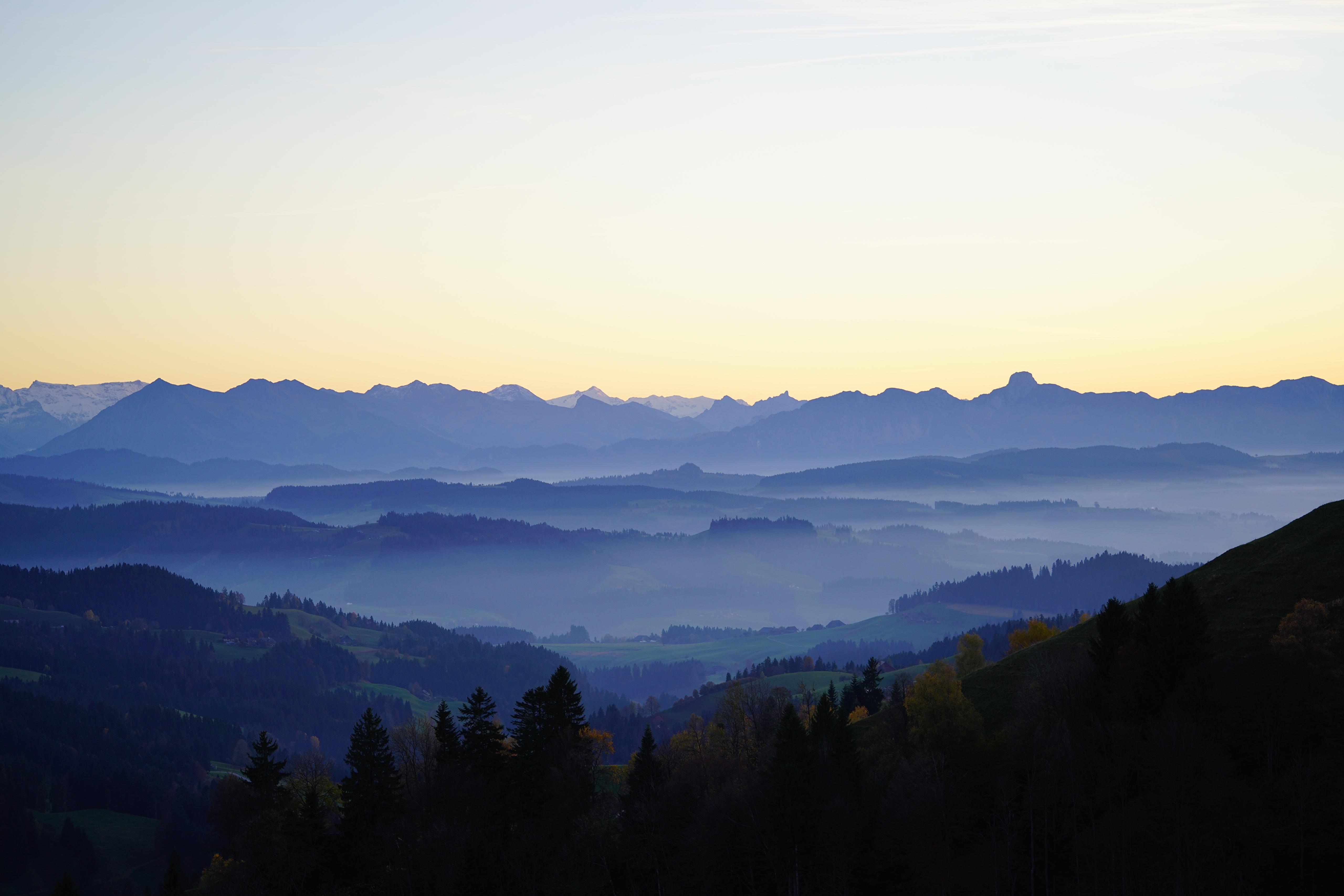 Desktop Wallpapers Switzerland Basel-Landschaft Fog Nature Hill Forests 5120x3415 forest