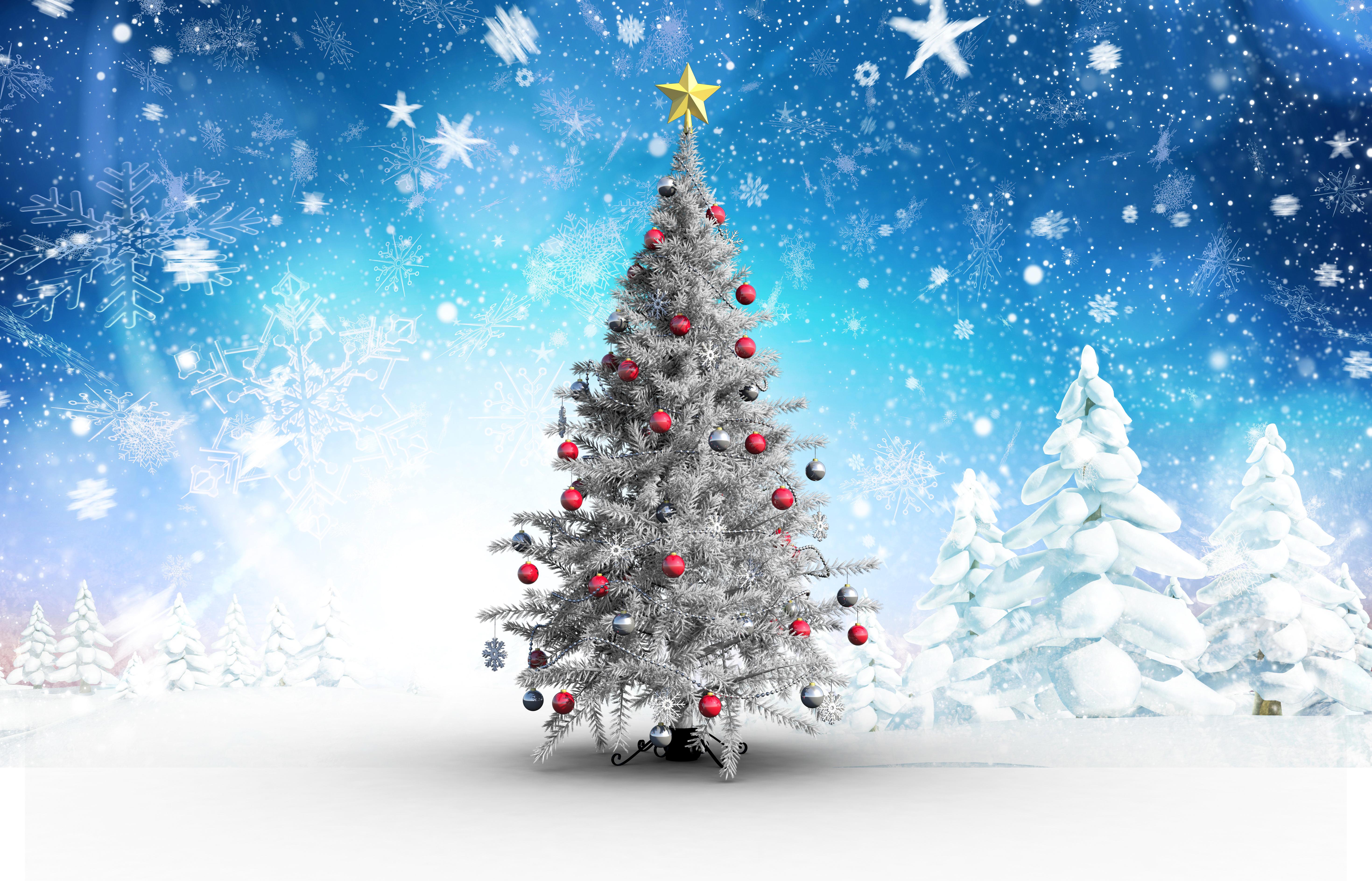 bilder von neujahr christbaum schneeflocken schnee kugeln. Black Bedroom Furniture Sets. Home Design Ideas