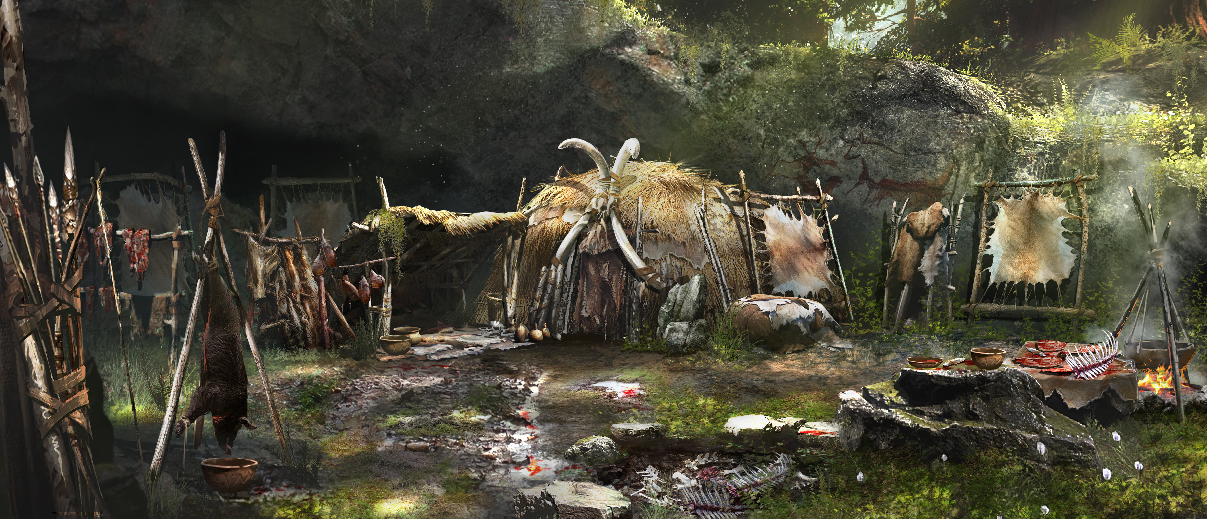 Pictures Far Cry Far Cry Primal Shaman Hut Games 4819x2074