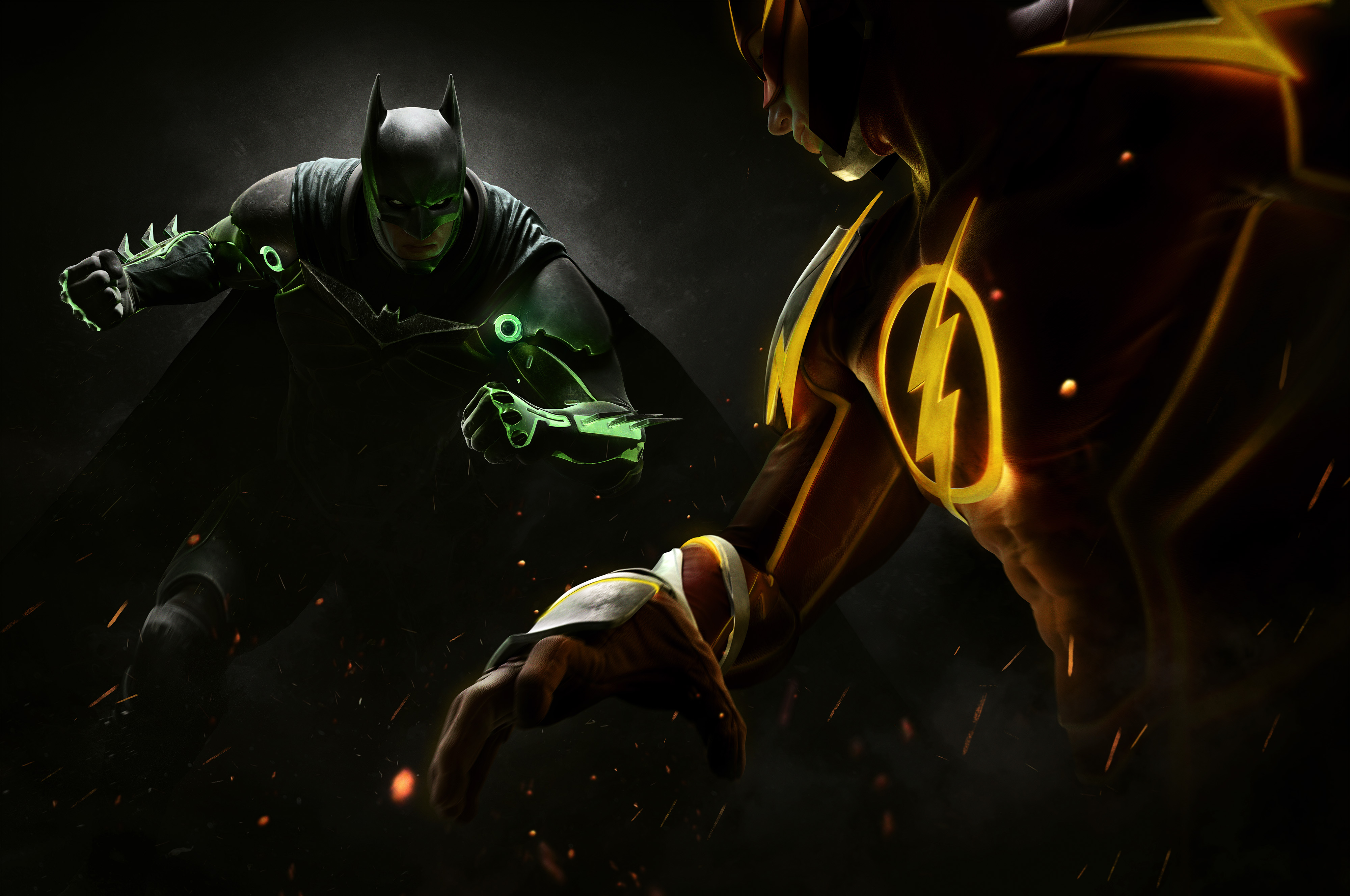 Photos Injustice 2 Heroes comics Batman hero The Flash hero vdeo game 4000x2657 superheroes Games
