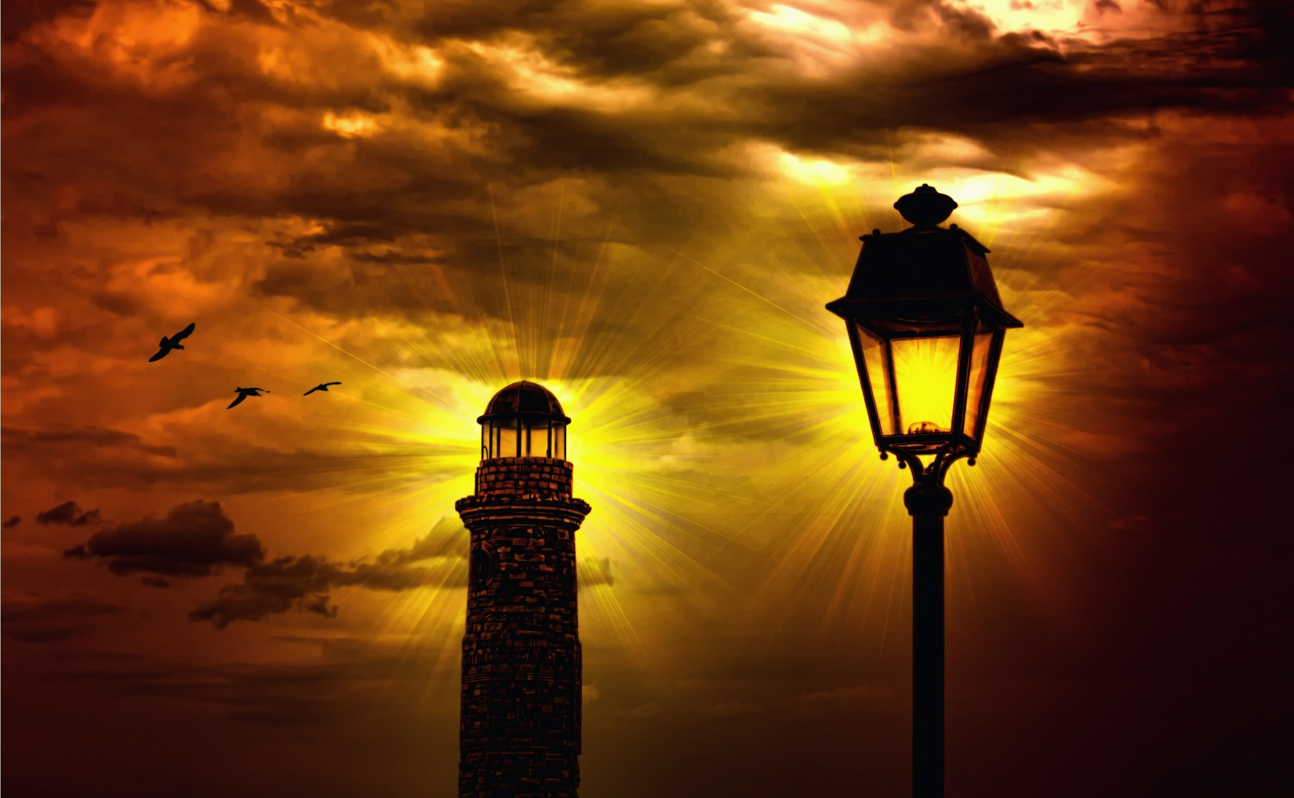 Photo Lighthouses Sky Night Street lights Clouds Cities night time