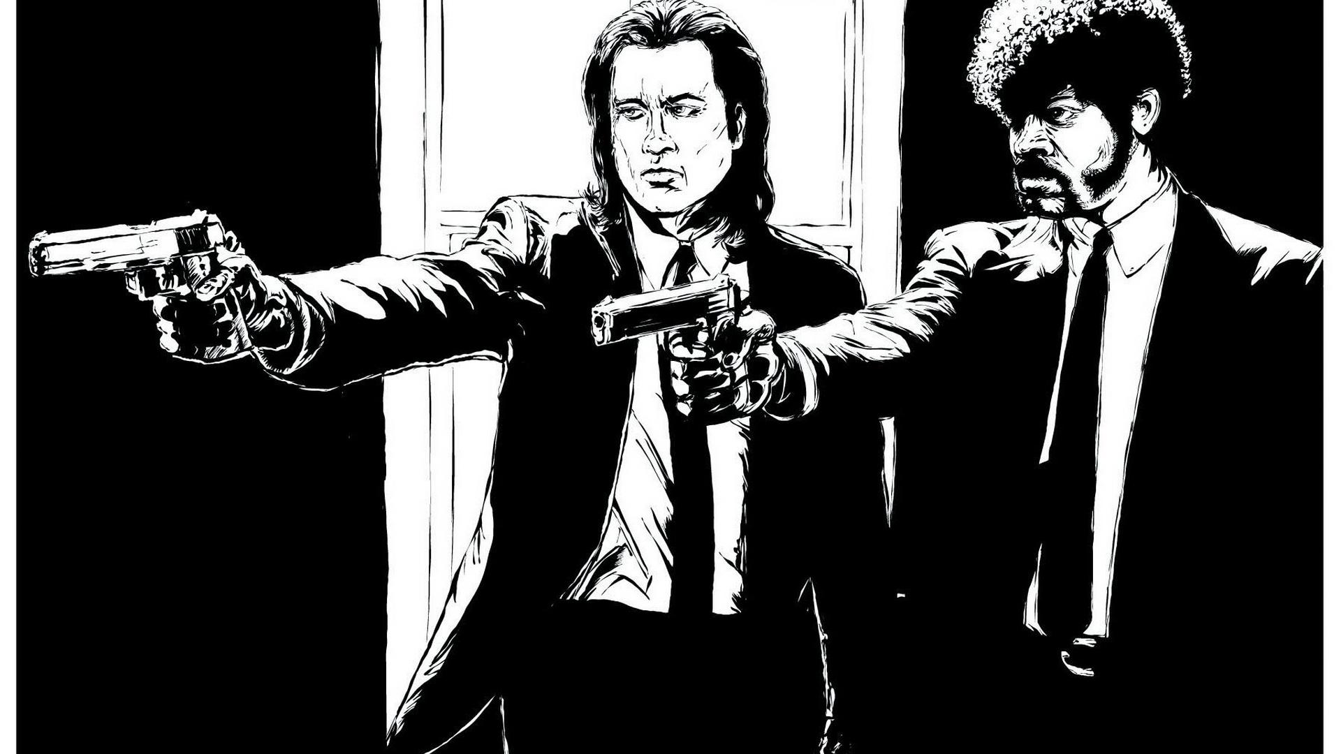 Image Pulp Fiction pistol Men Movies Vector Graphics 1920x1080 Pistols Man film