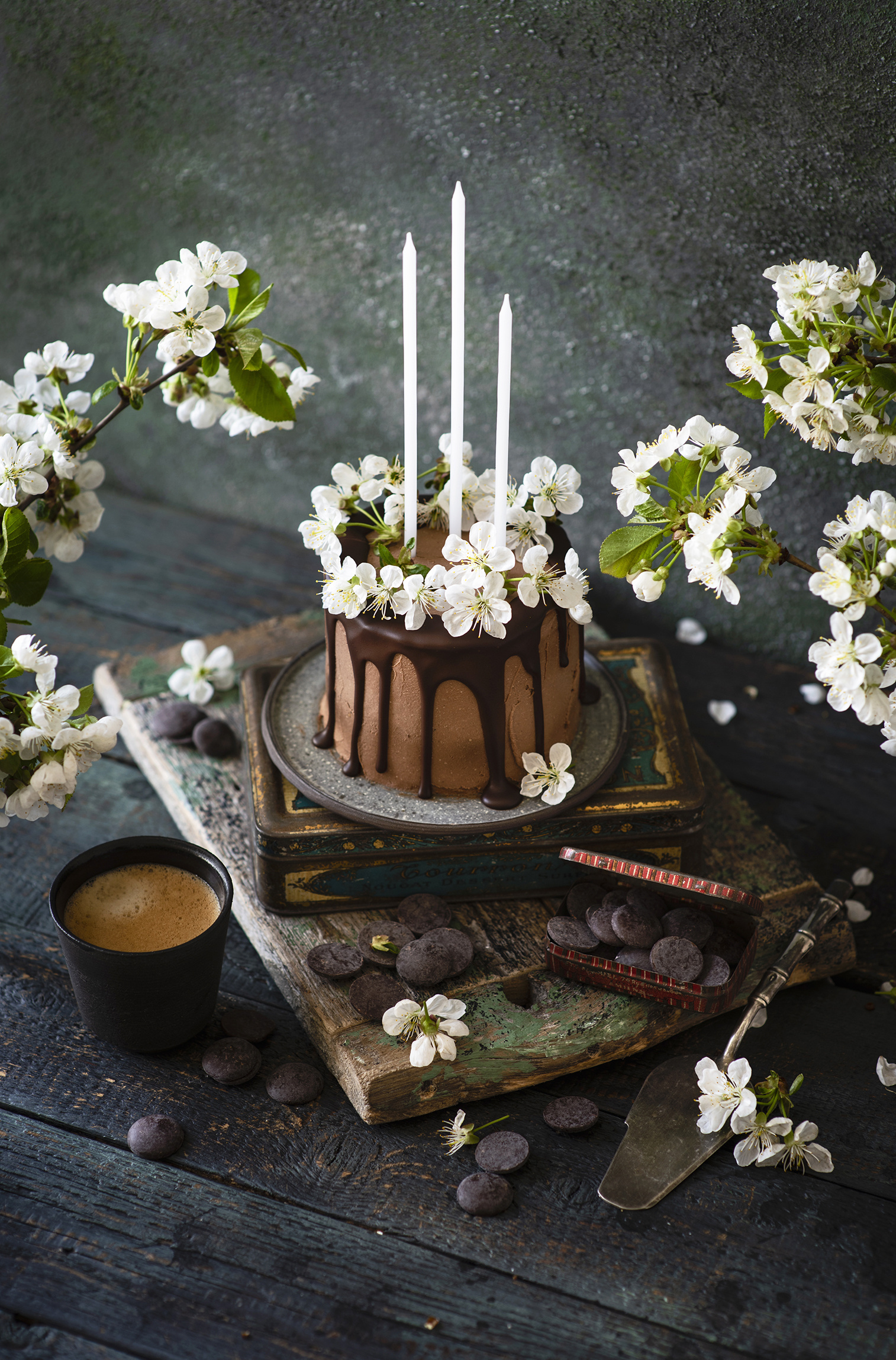 Photo Chocolate Cakes Coffee Cappuccino Flowers Highball glass Food Candles Branches Wood planks Flowering trees  for Mobile phone Torte flower boards
