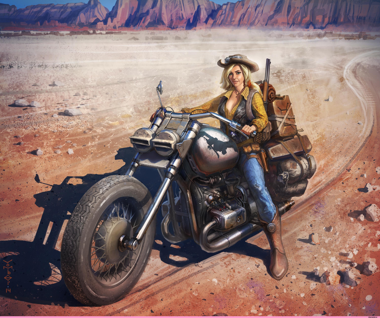 ,绘制壁纸,摩托車騎士,金发女孩,帽子,年輕女性,摩托車,女孩,