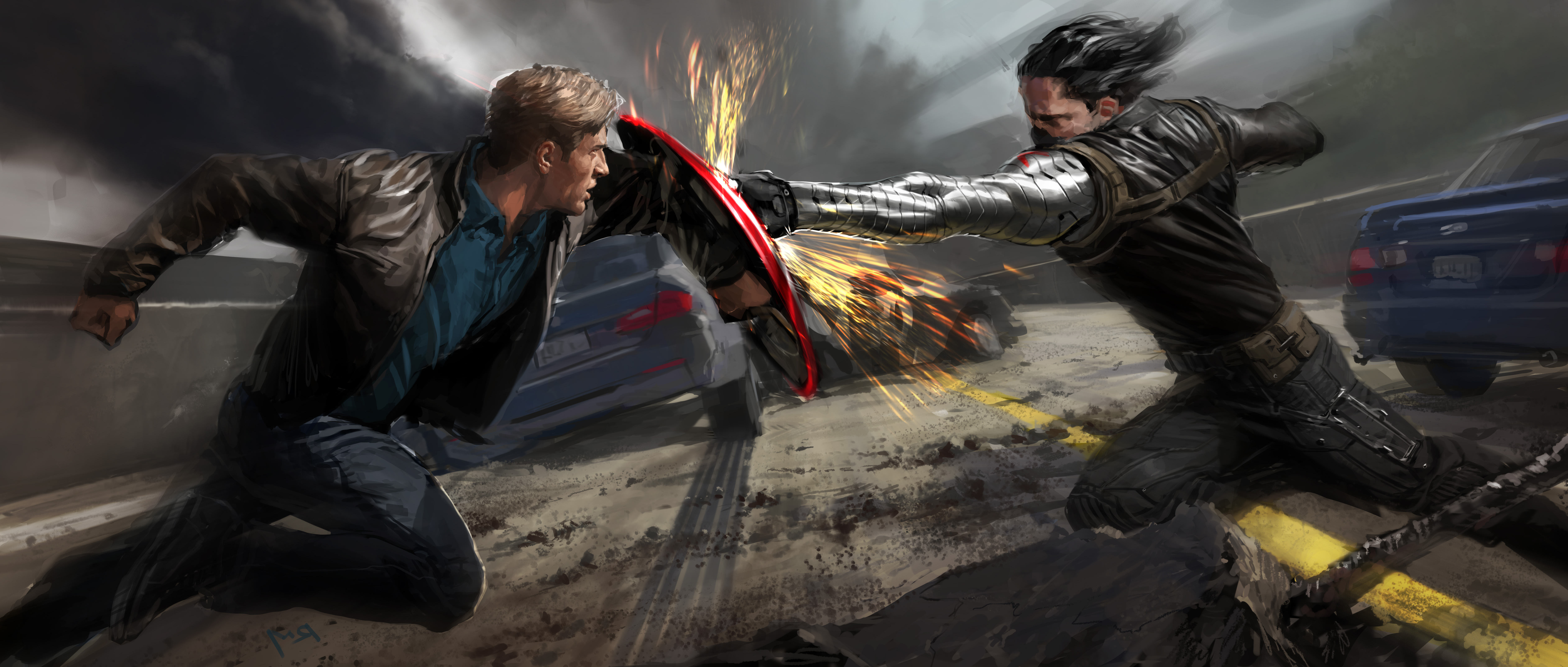 7500x3192 Héroes del cómic Captain America: The Winter Soldier Pelear Dos superhéroes, 2 Película