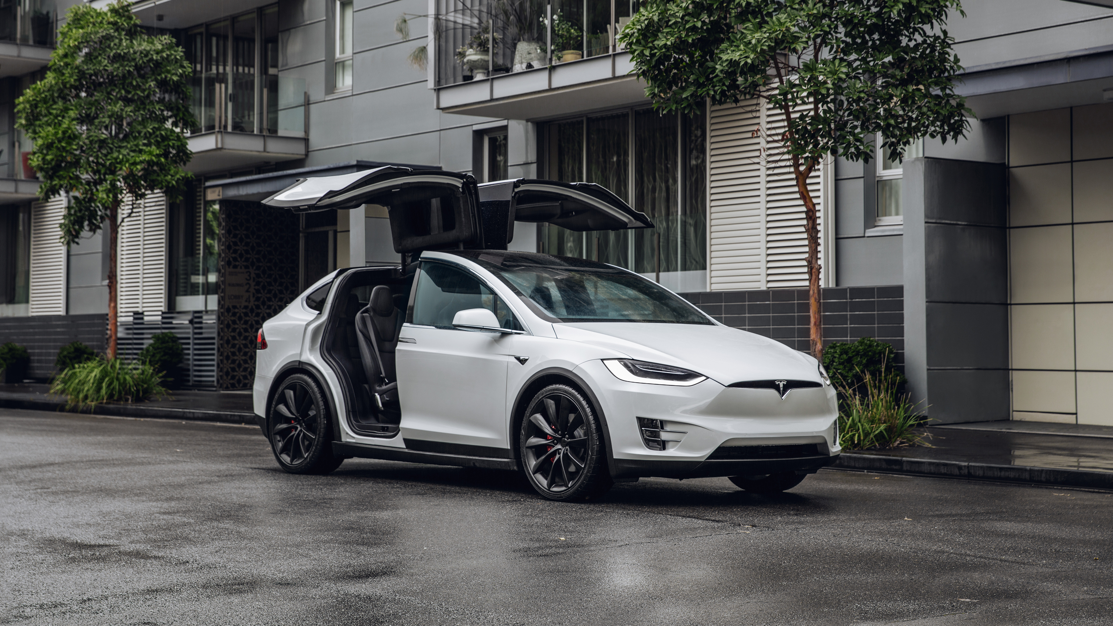 Images Tesla Motors 2017 19 Model X P100d White Automobile 3840x2160