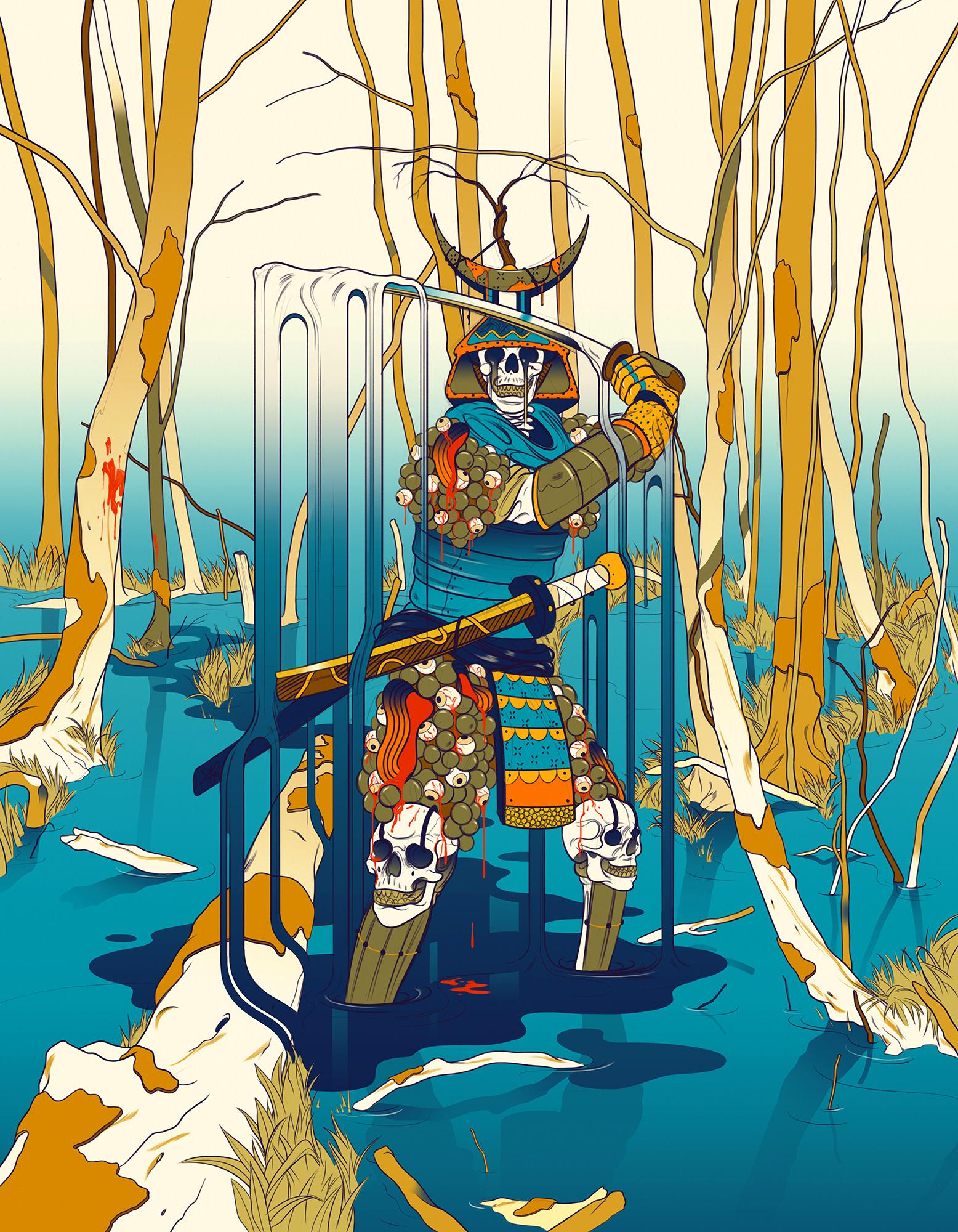 Fotos von Schwert Samurai Untoter Fantasy Sumpf