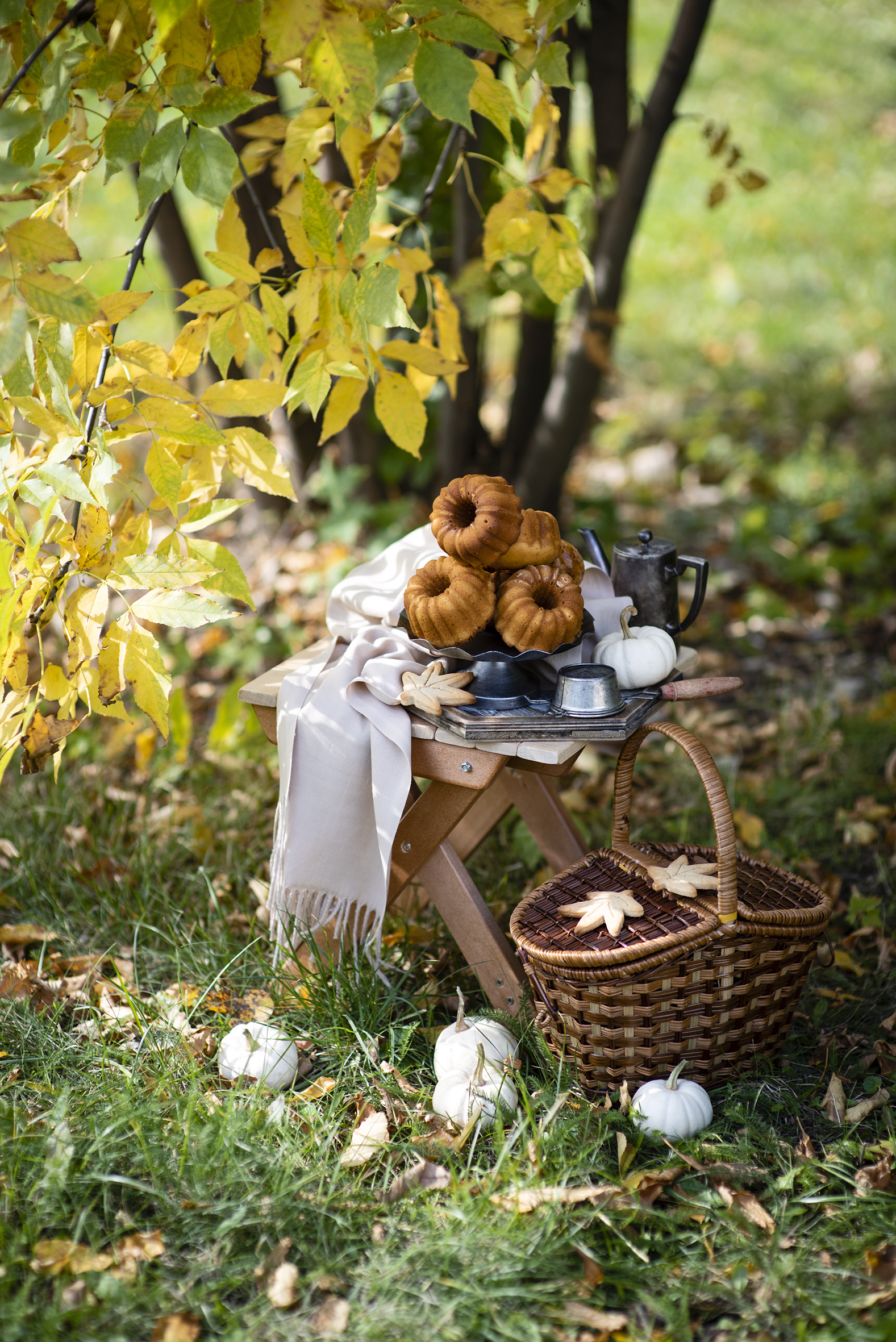 Photo Autumn Pumpkin Pound Cake Wicker basket Food  for Mobile phone