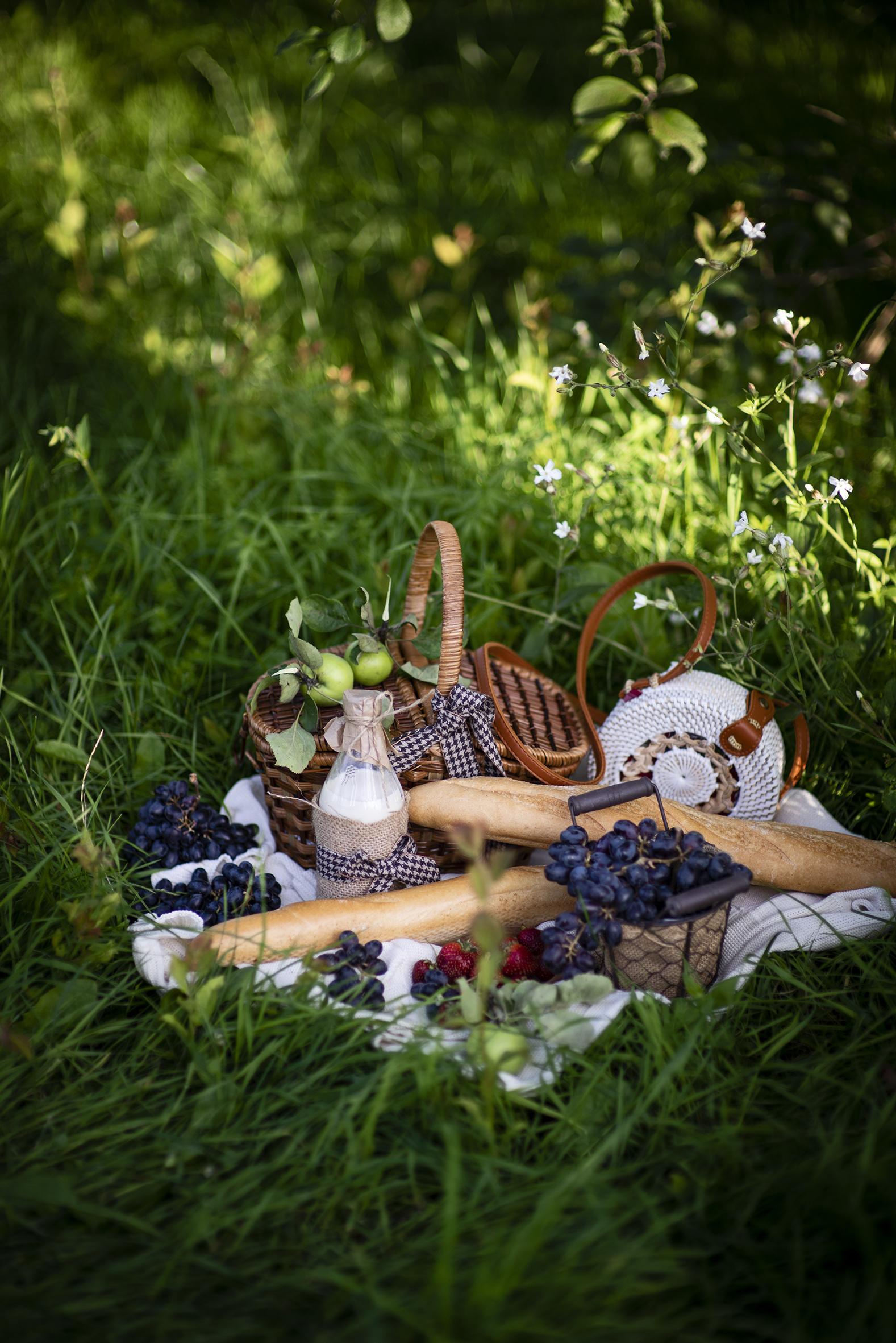 Foto Milch Picknick Brot Äpfel Weintraube Weidenkorb flaschen das Essen  für Handy Trauben Flasche Lebensmittel
