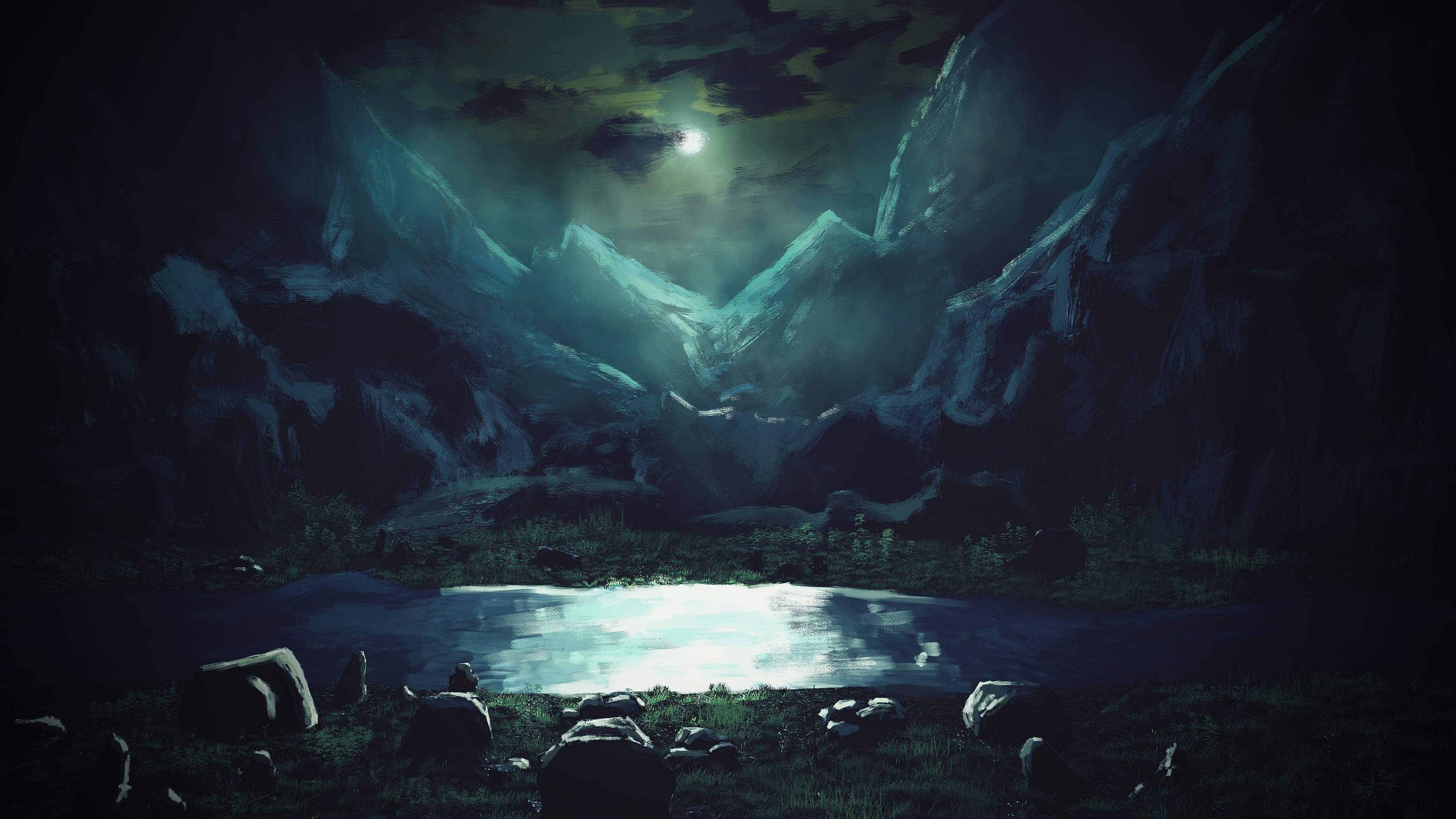 壁紙 3840x2160 山 描かれた壁紙 夜 月 自然 ダウンロード 写真