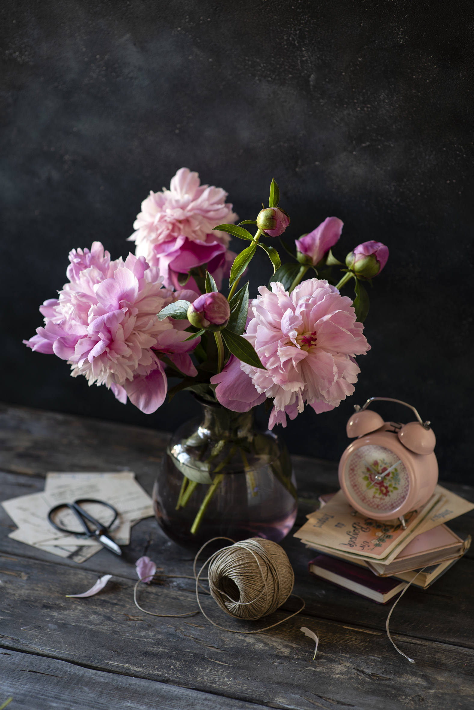 Photo Clock Pink color paeony flower Alarm clock Vase books Flower-bud Wood planks  for Mobile phone peony Peonies Flowers Book boards