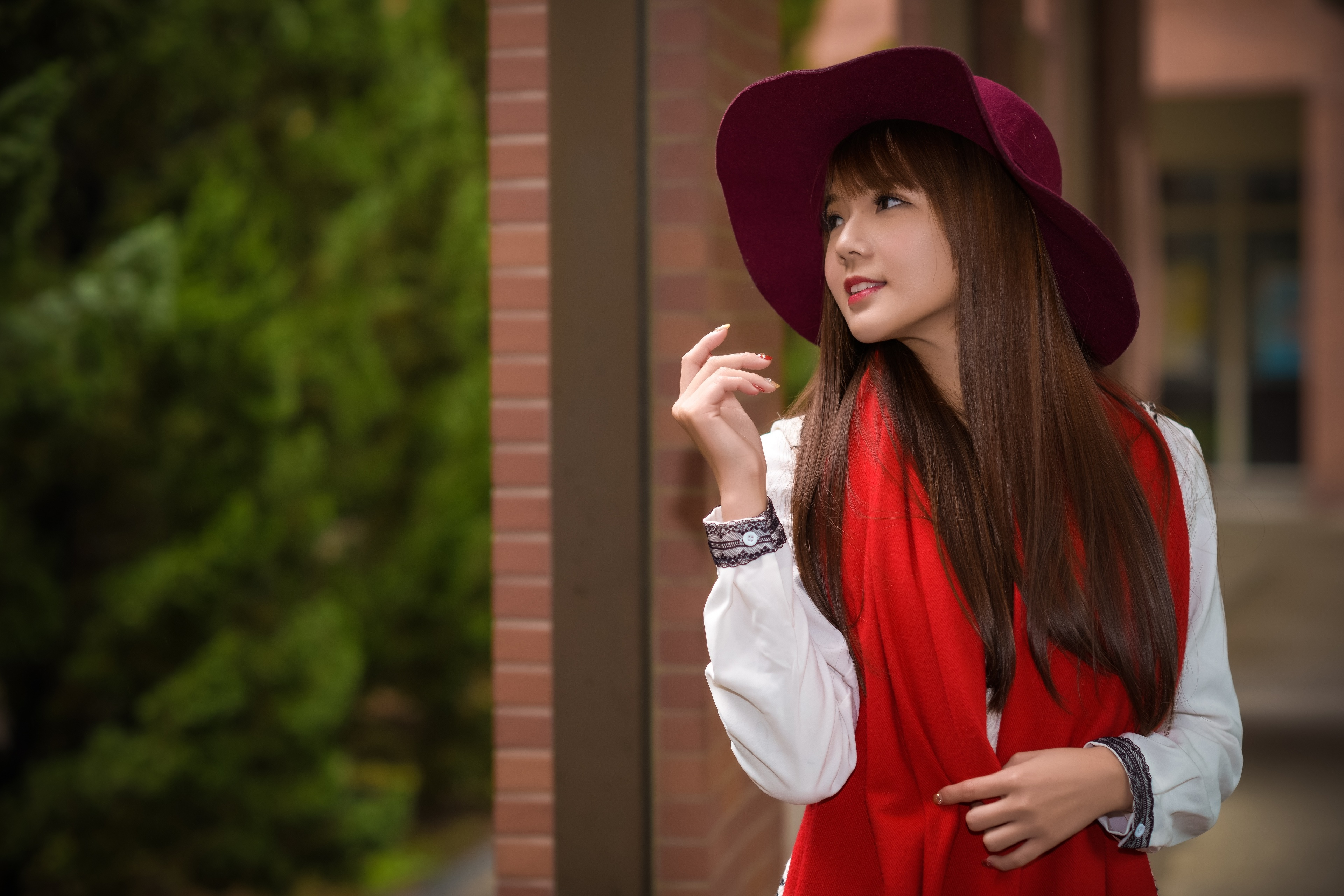 Images Brown haired Scarf Bokeh Hat Girls Asiatic Hands blurred background female young woman Asian