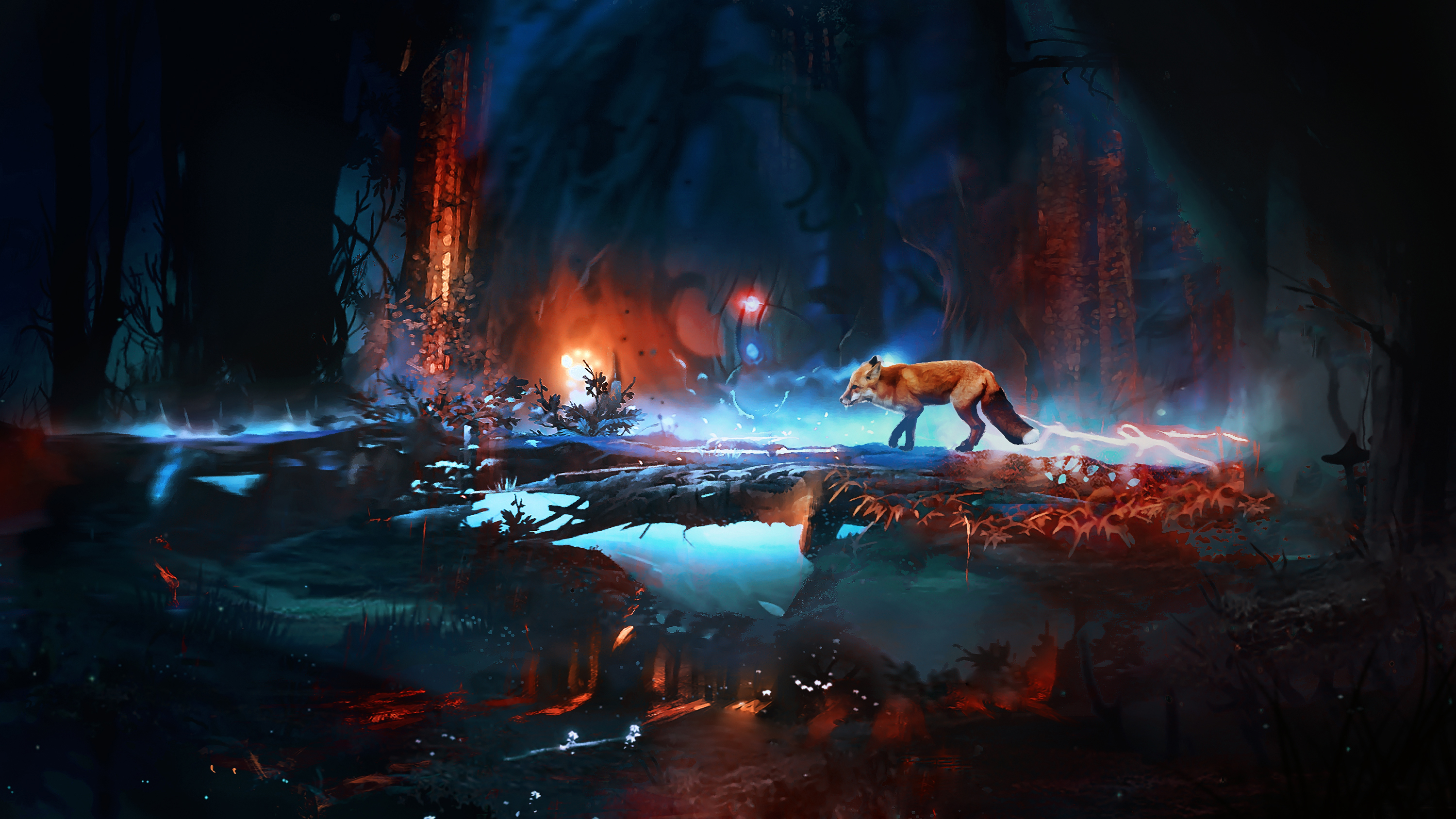 Image Foxes Fantasy Forest Animals 3000x1688