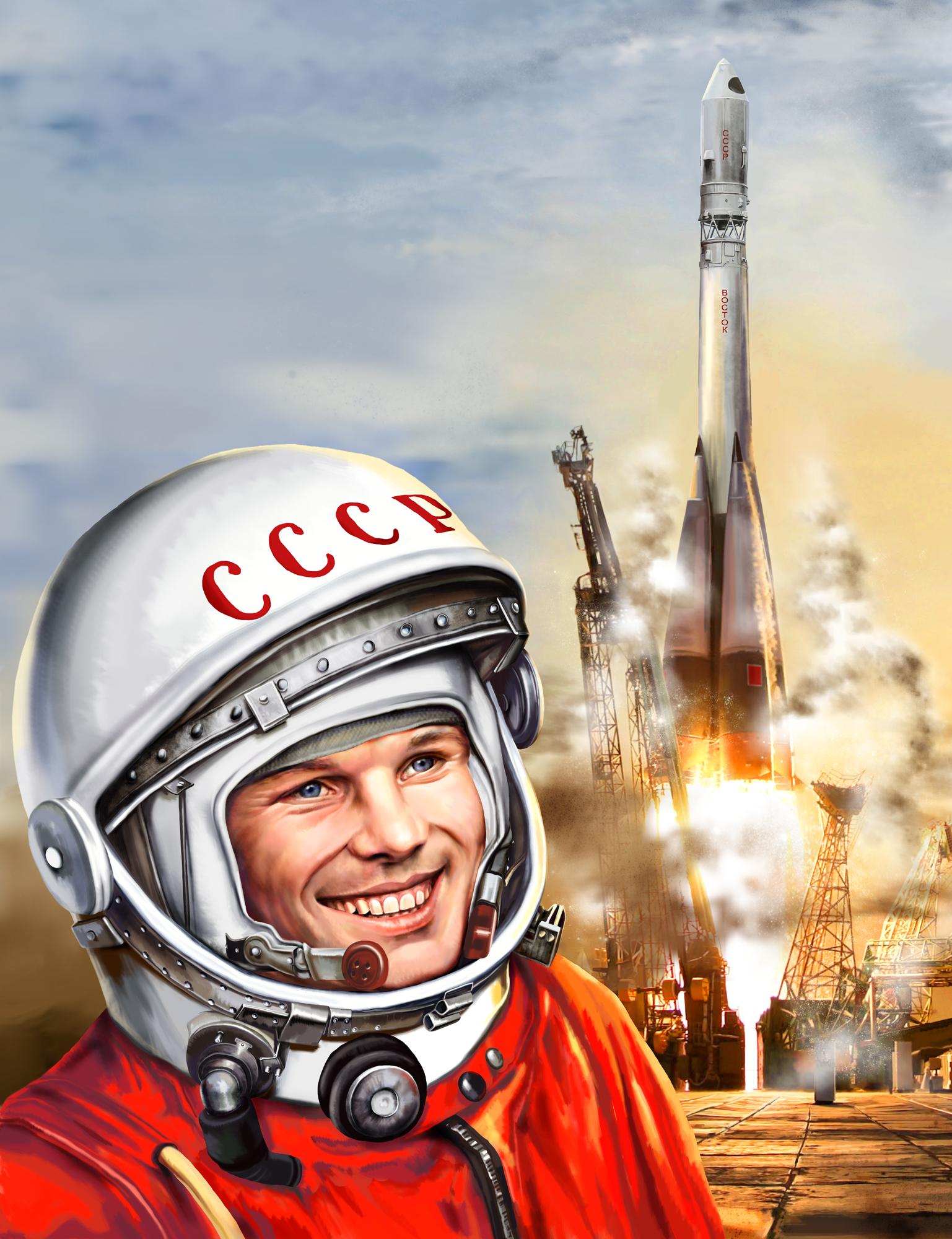 Hintergrundbilder Juri Gagarin Astronauten Helm Rakete Lächeln Sowjetunion Weltraum Prominente Gezeichnet UdSSR Kosmos