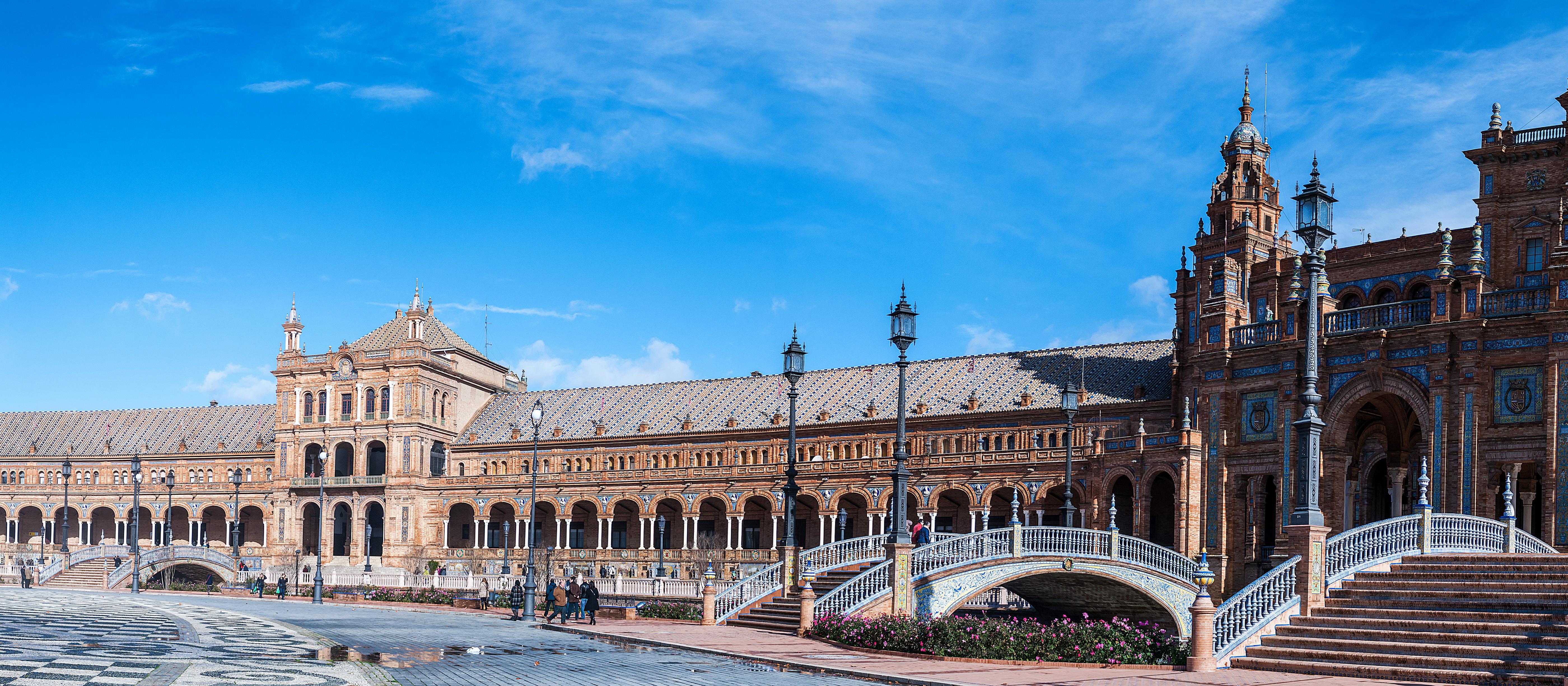 壁紙 5600x2450 スペイン マドリード 住宅 Plaza De Espan 広場 デザイン 階段 街灯 都市 ダウンロード 写真