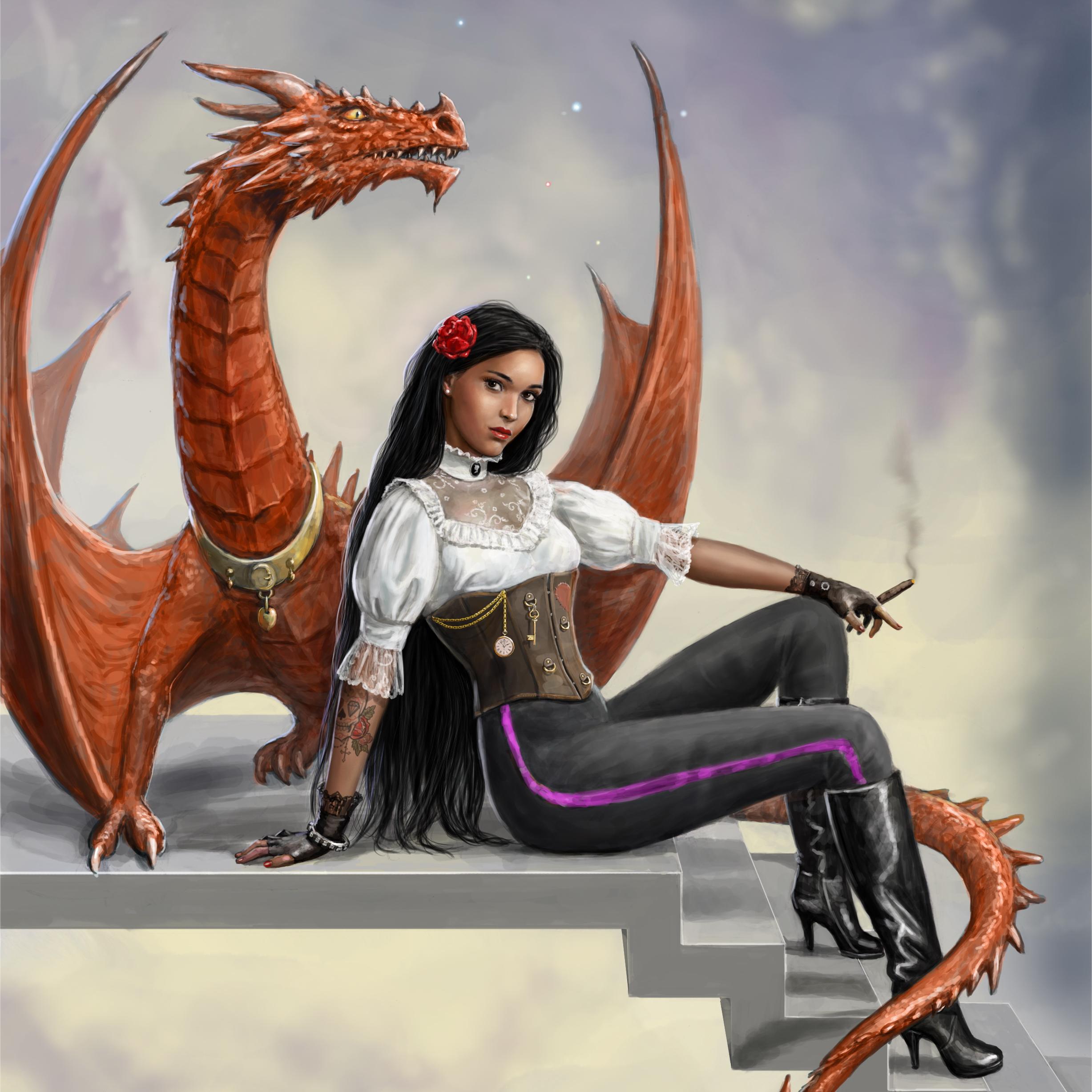Обои Девушка Дракон