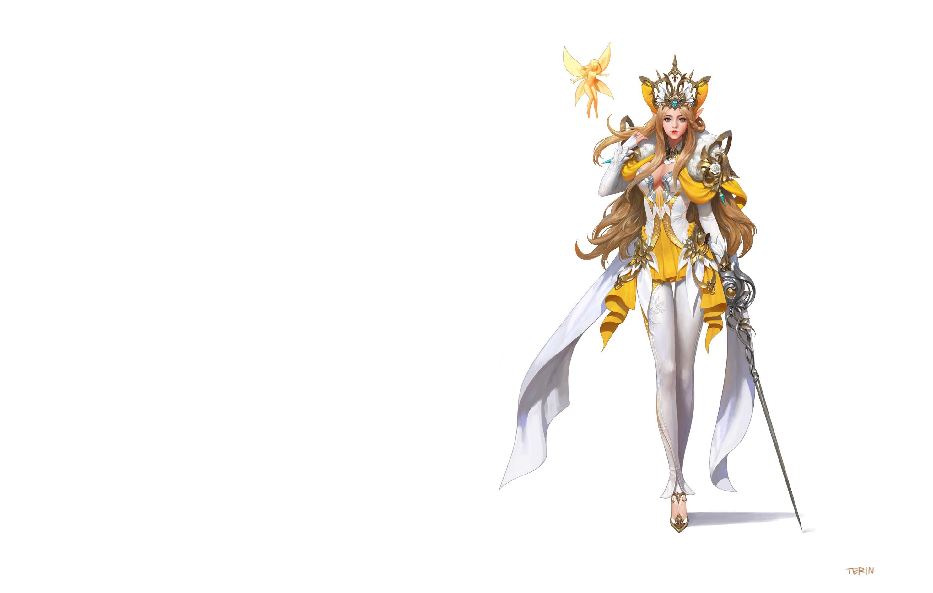 Wallpaper Knight rapier Elf Crown Warriors terin kim Beautiful Fantasy young woman White background Épée Elves warrior Girls female