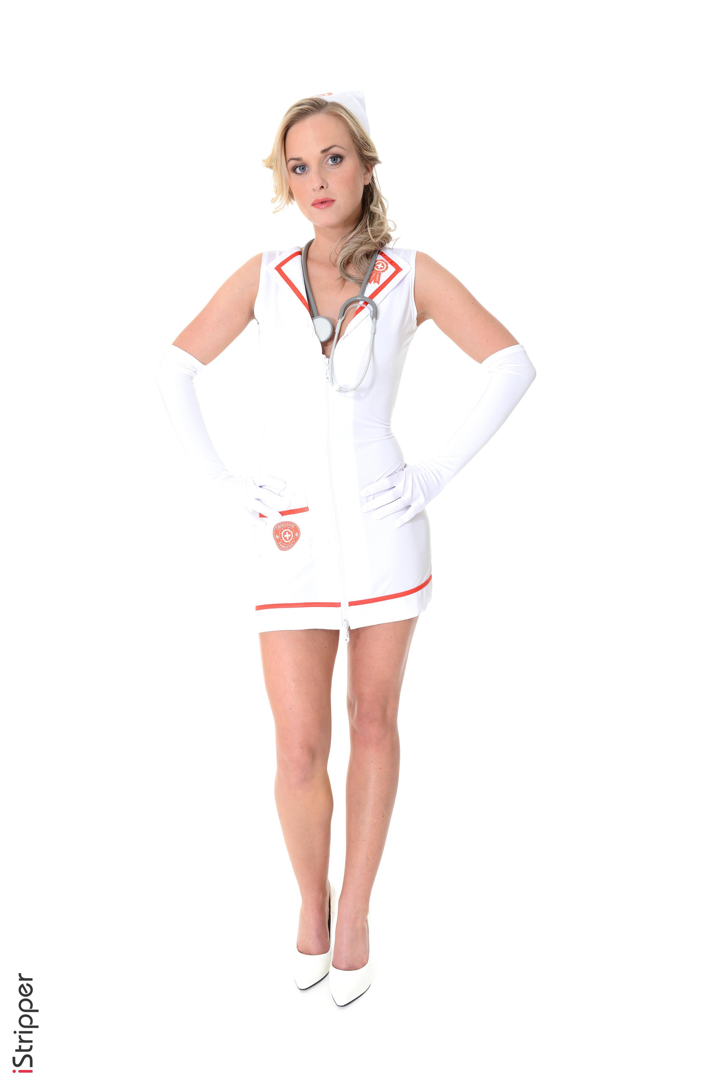 Foto Vinna Reed Blond Mädchen Krankenschwester Handschuh iStripper junge frau Bein Hand Uniform Weißer hintergrund Stöckelschuh  für Handy Blondine Mädchens junge Frauen High Heels